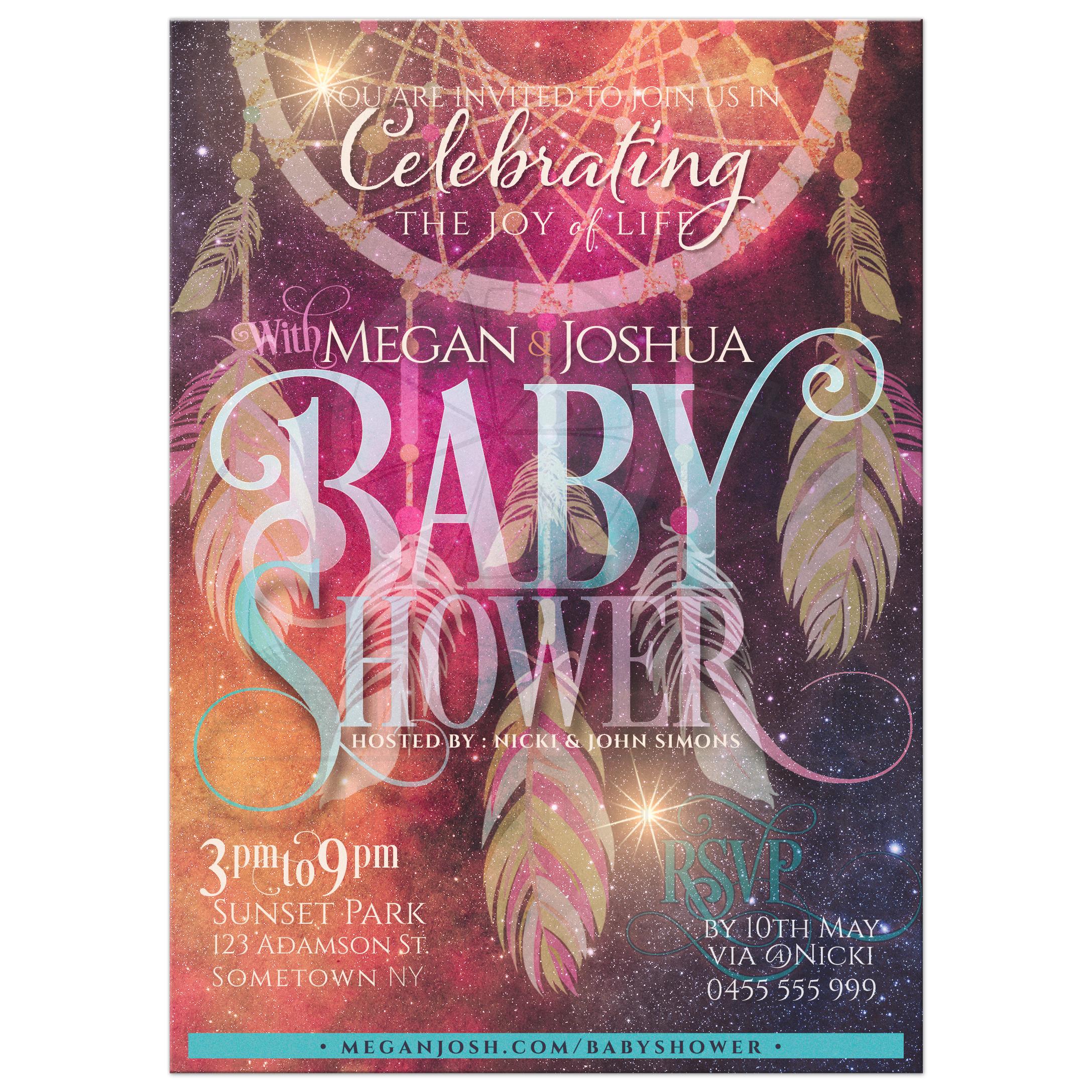 Bohemian Dreams Dreamcatcher Baby Shower Invitations