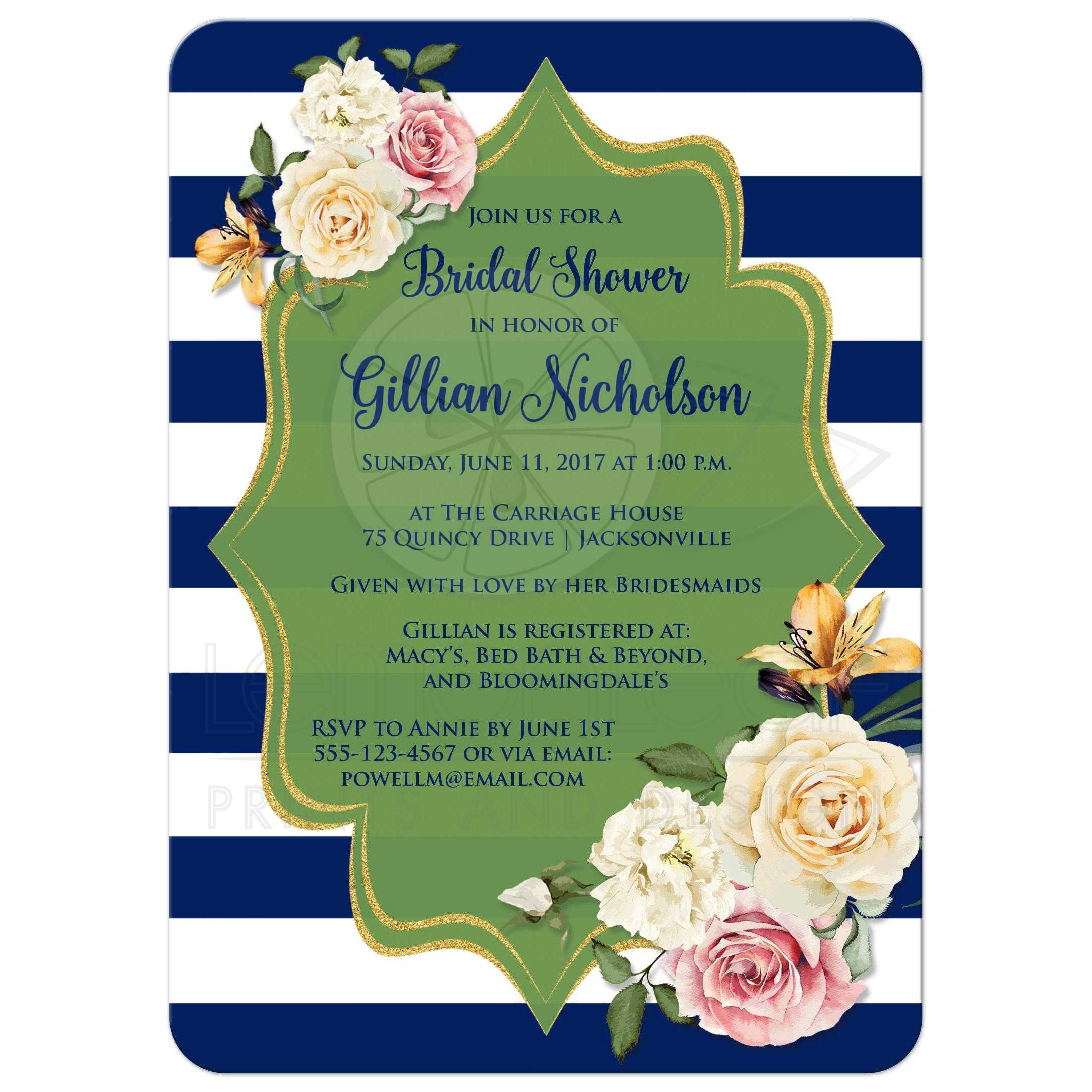 Bridal Shower Invitation | Navy, Green, White Stripes | Vintage ...