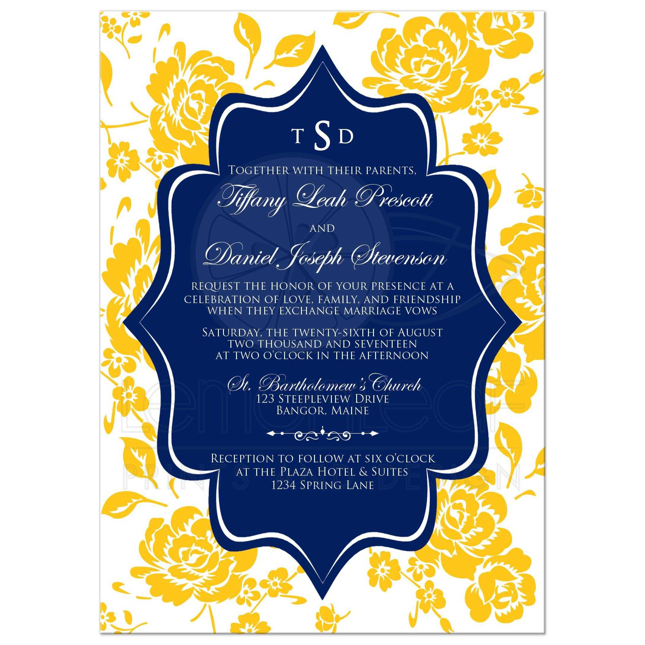 Monogrammed Wedding Invitation Navy Yellow White Floral Scroll