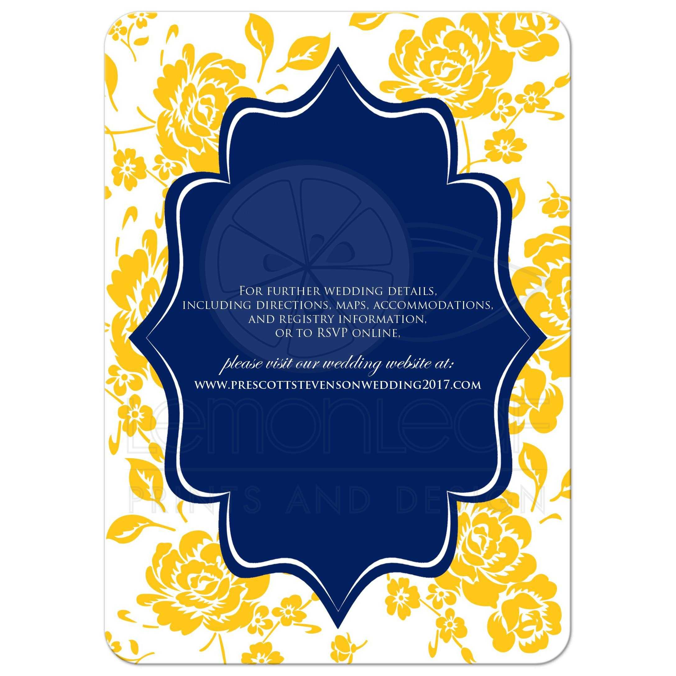 ... Great Blue, Gold And White Wedding Invitation With Rose Or Peony Flowers