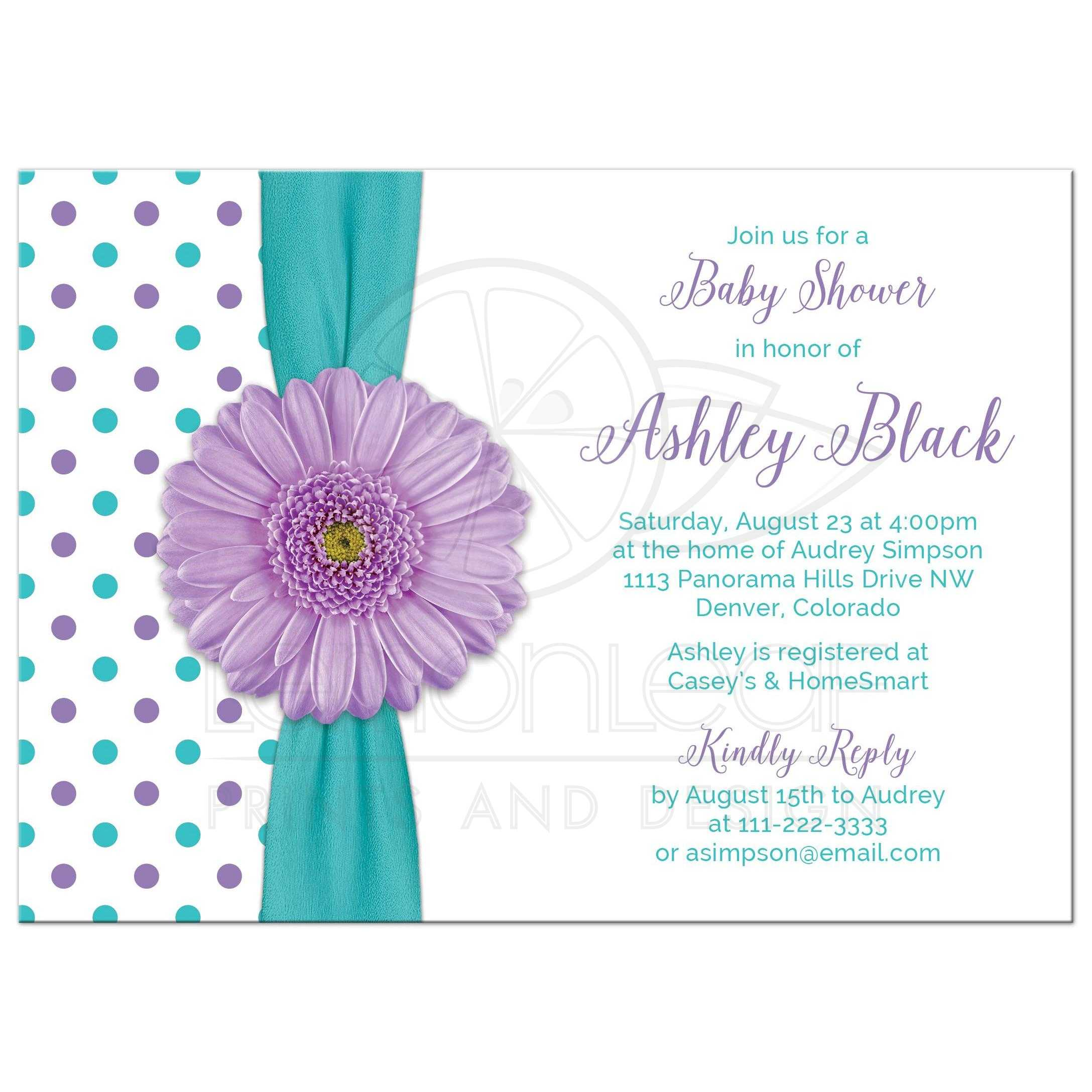 Cute Turquoise And White Polka Dot Purple Gerbera Daisy Baby Shower Invitation