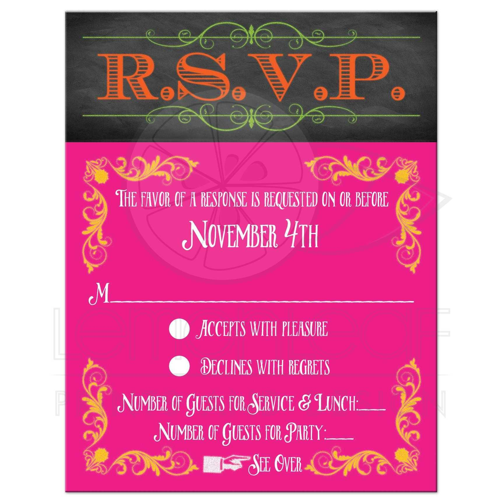 B'not Mitzvah RSVP Card | Neon Chalkboard | Vintage Scrolls and ...