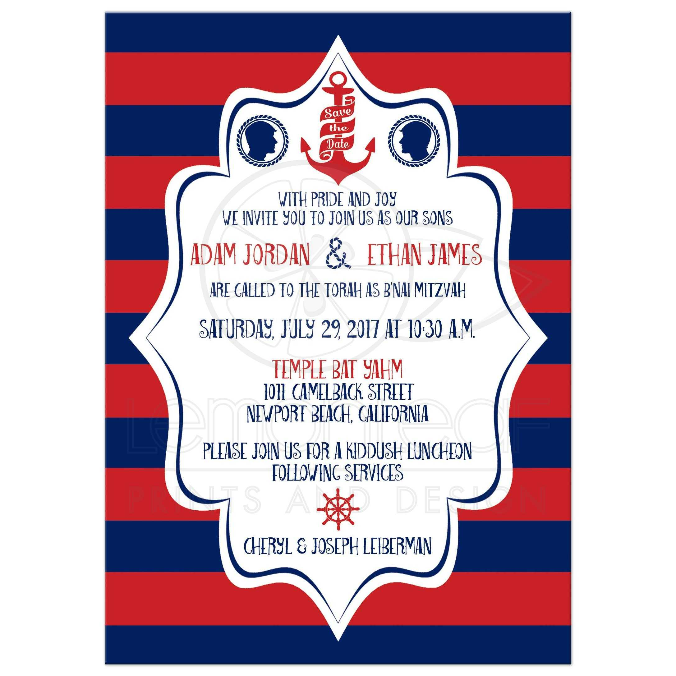 b nai mitzvah invitation nautical stripes in red and navy blue