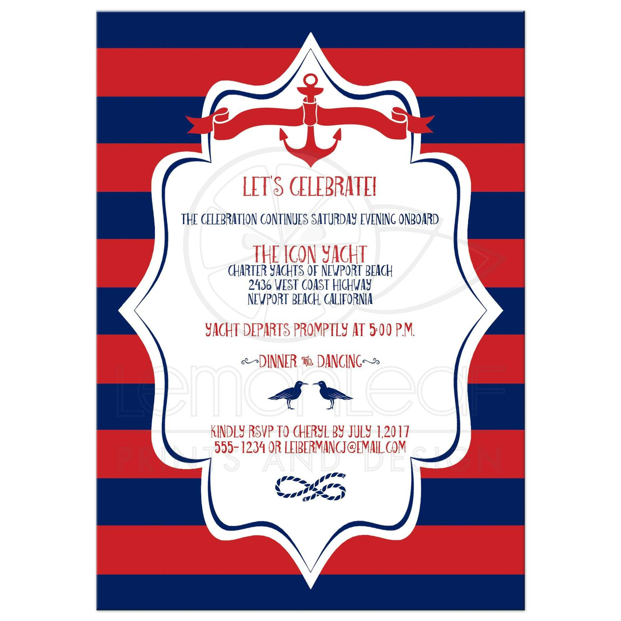 B\'nai Mitzvah Invitation | Nautical Stripes in Red and Navy Blue ...