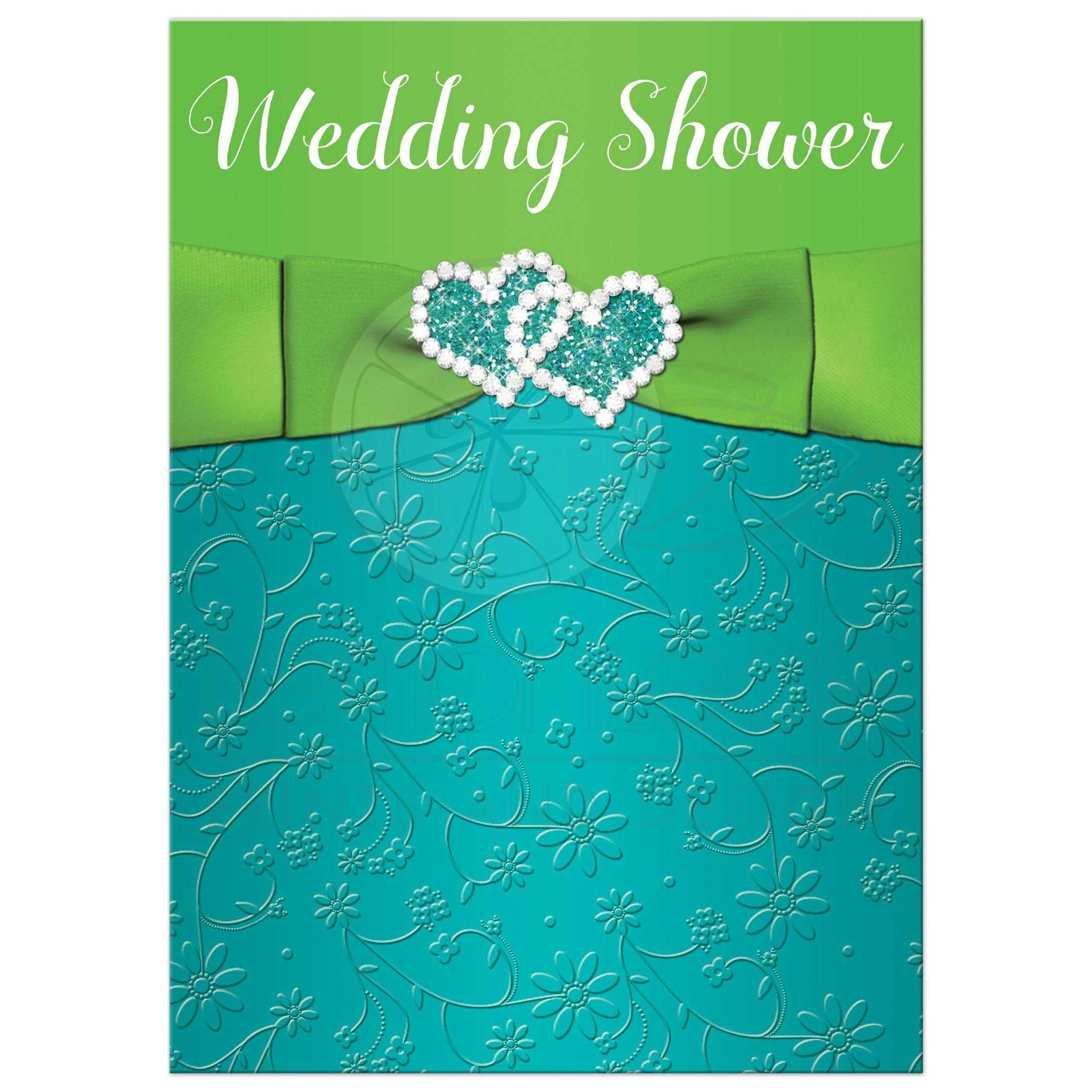 Wedding or Couple\'s Shower Invitation | Turquoise, Lime Green Floral ...
