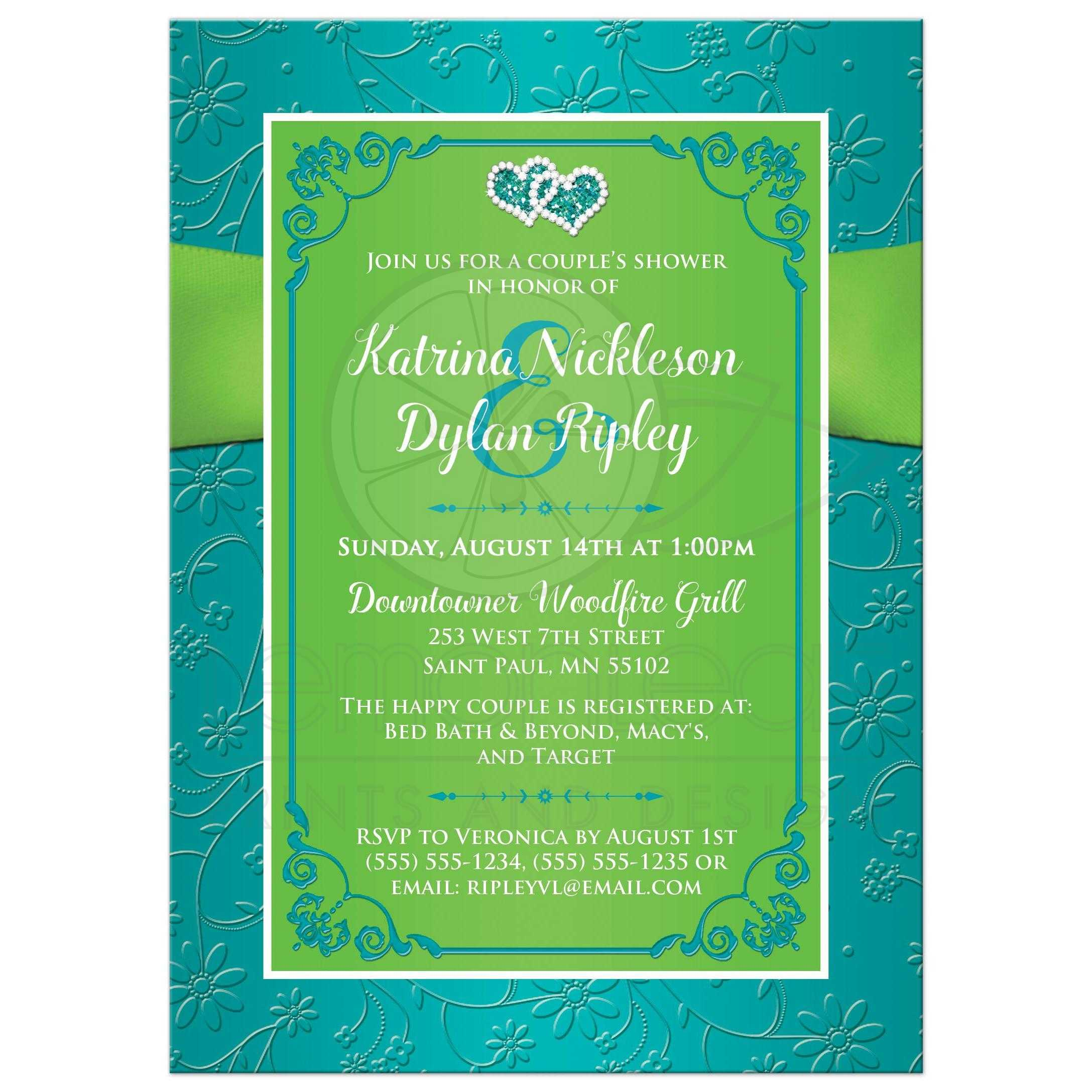 Wedding or Couples Shower Invitation Turquoise Lime Green