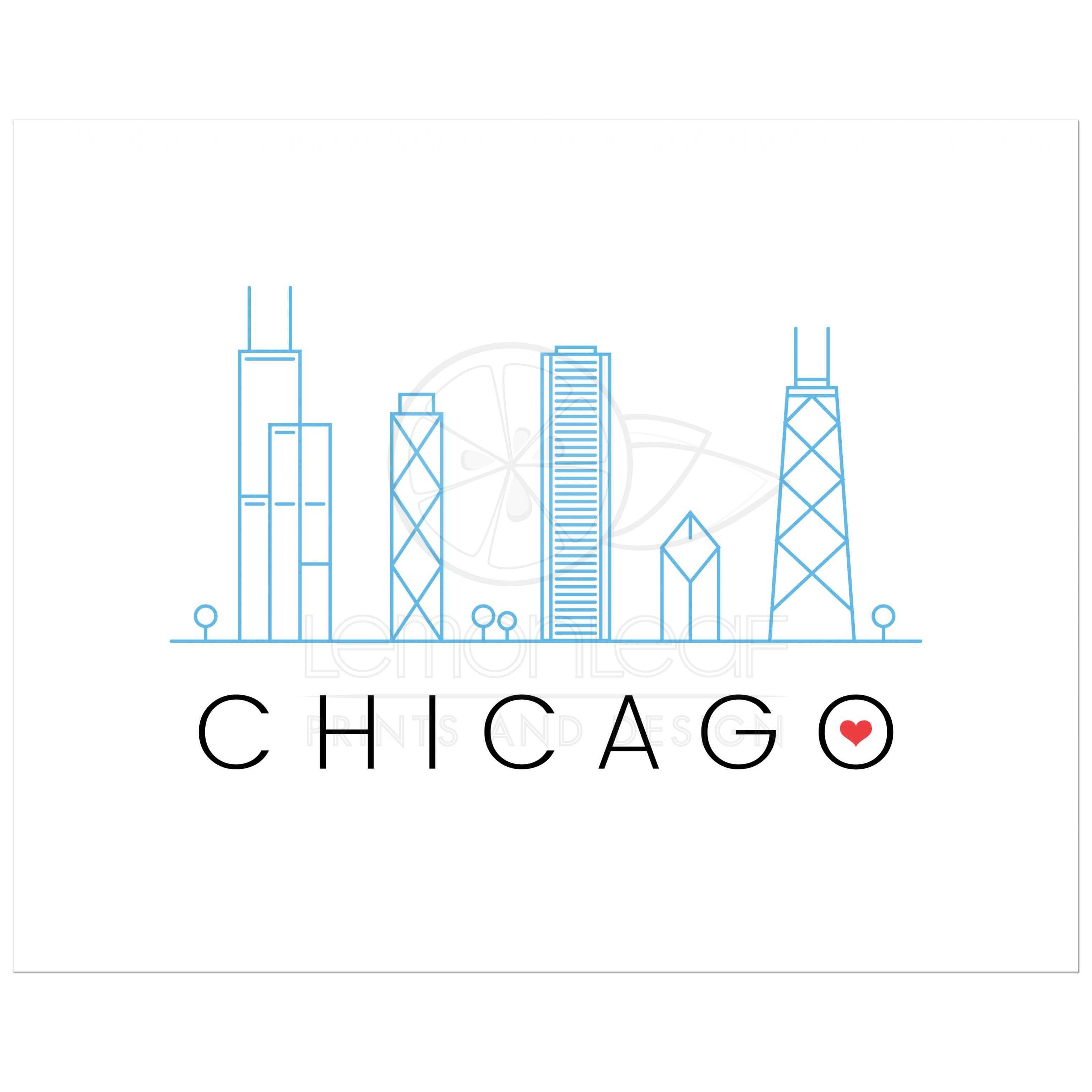 Chicago Skyline Wall Art chicago skyline art print - modern, minimal design with red love heart