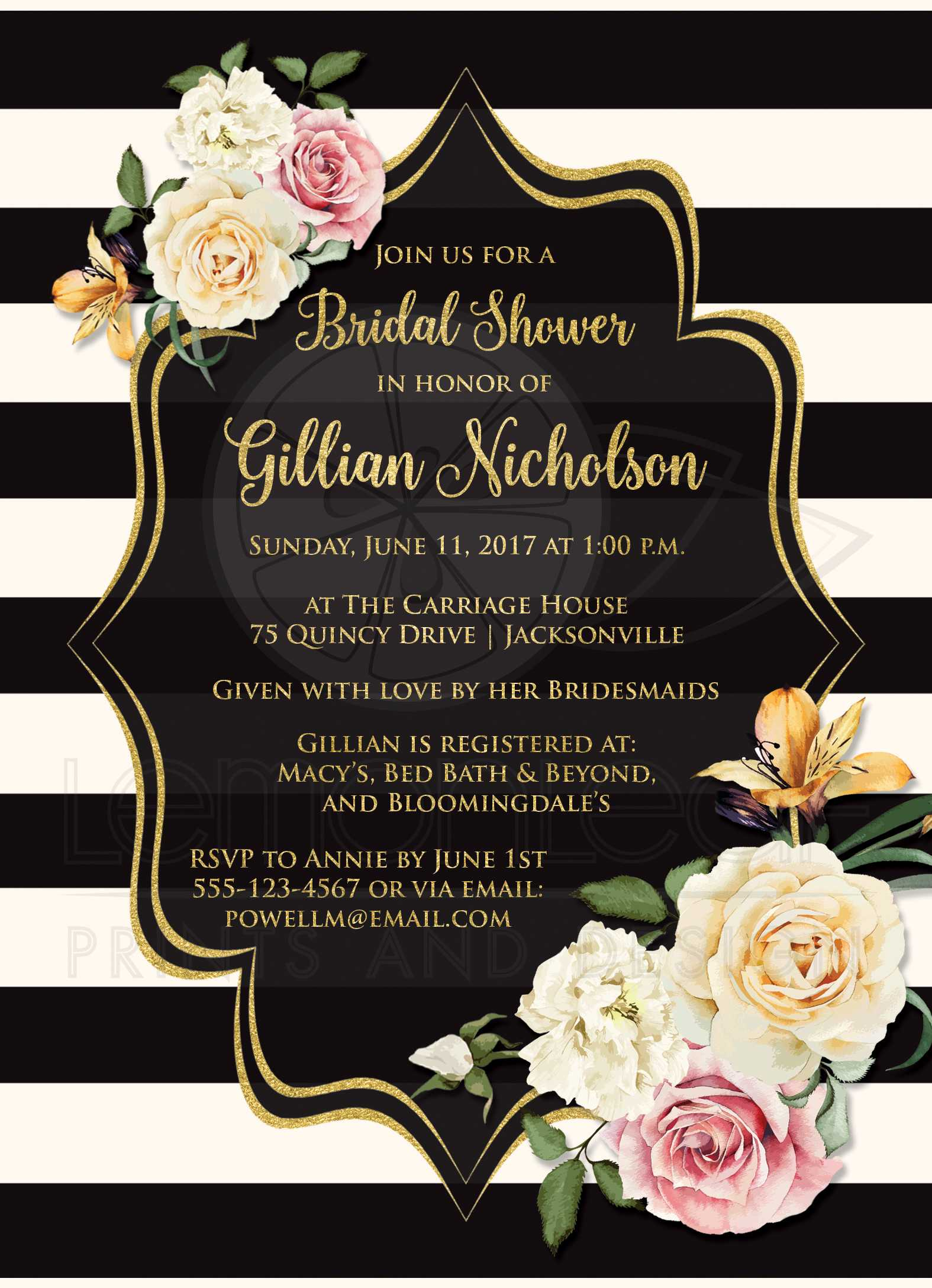 E invites for bridal shower picture ideas references e invites for bridal shower bridal shower invitation black ivory stripes vintage floral simulated gold foil filmwisefo Gallery
