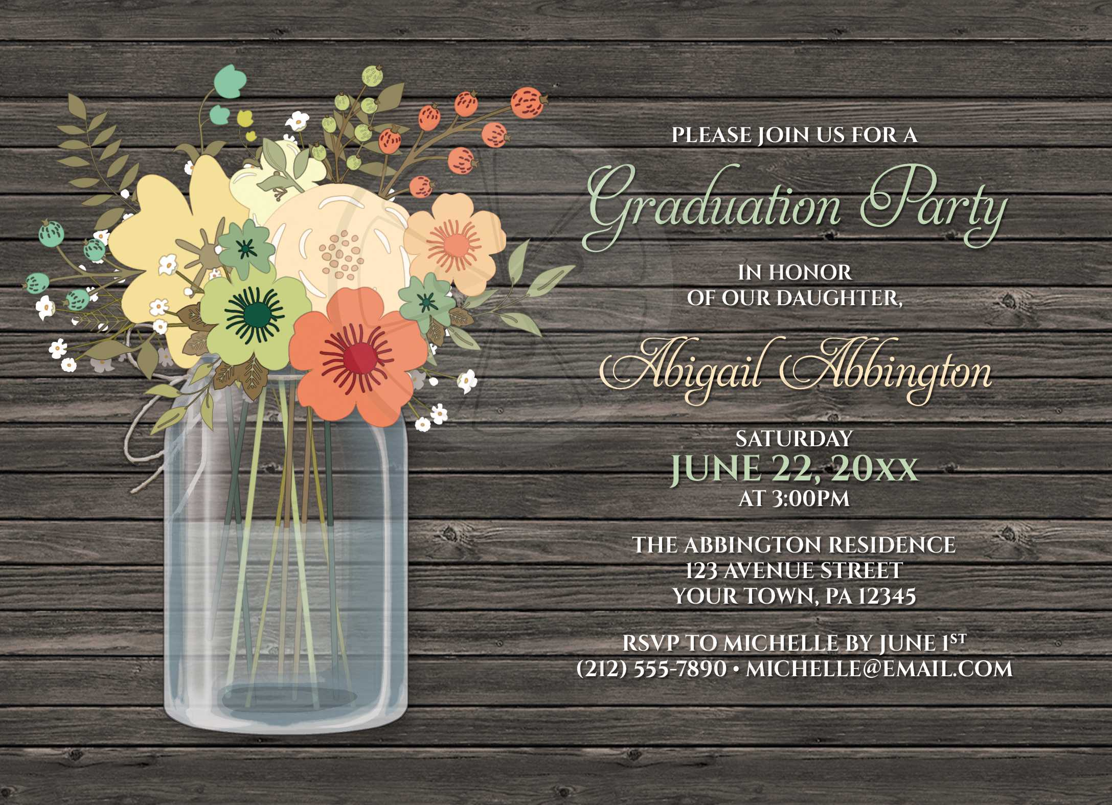 Graduation Party Invitations Rustic Floral Wood Mason Jar – Flower Party Invitations