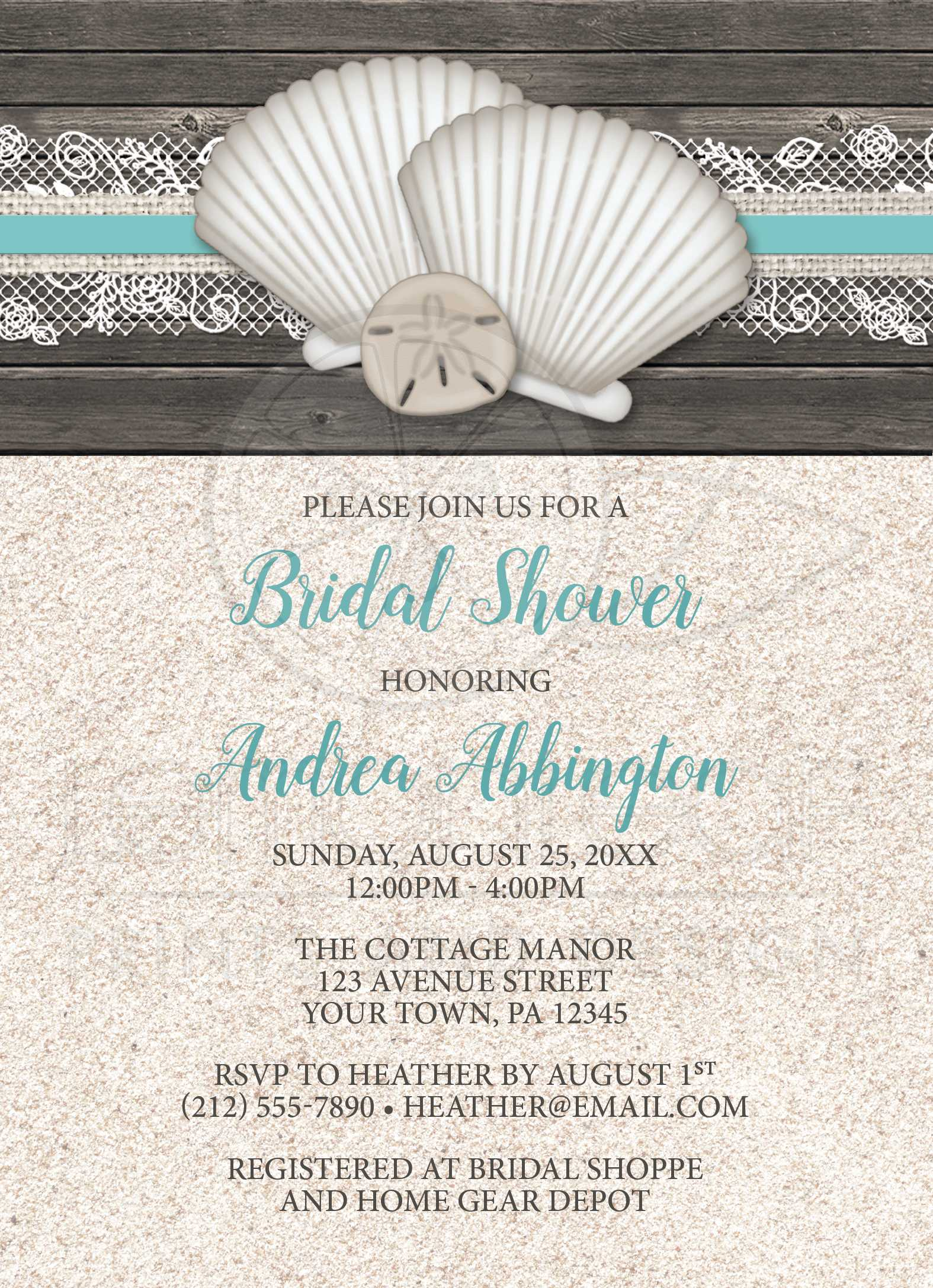 bridal shower invitations beach seashells lace rustic wood and sand