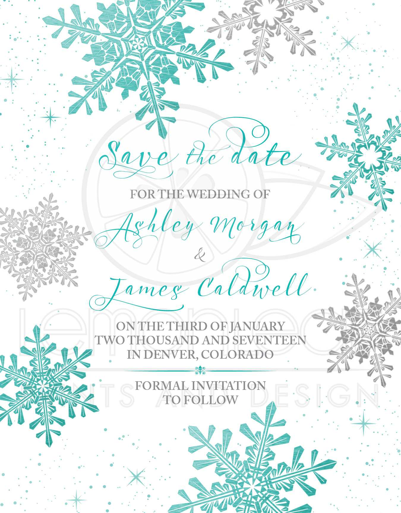 Winter Wedding Save the Date Card Turquoise Silver Snowflake – Winter Wedding Save the Date
