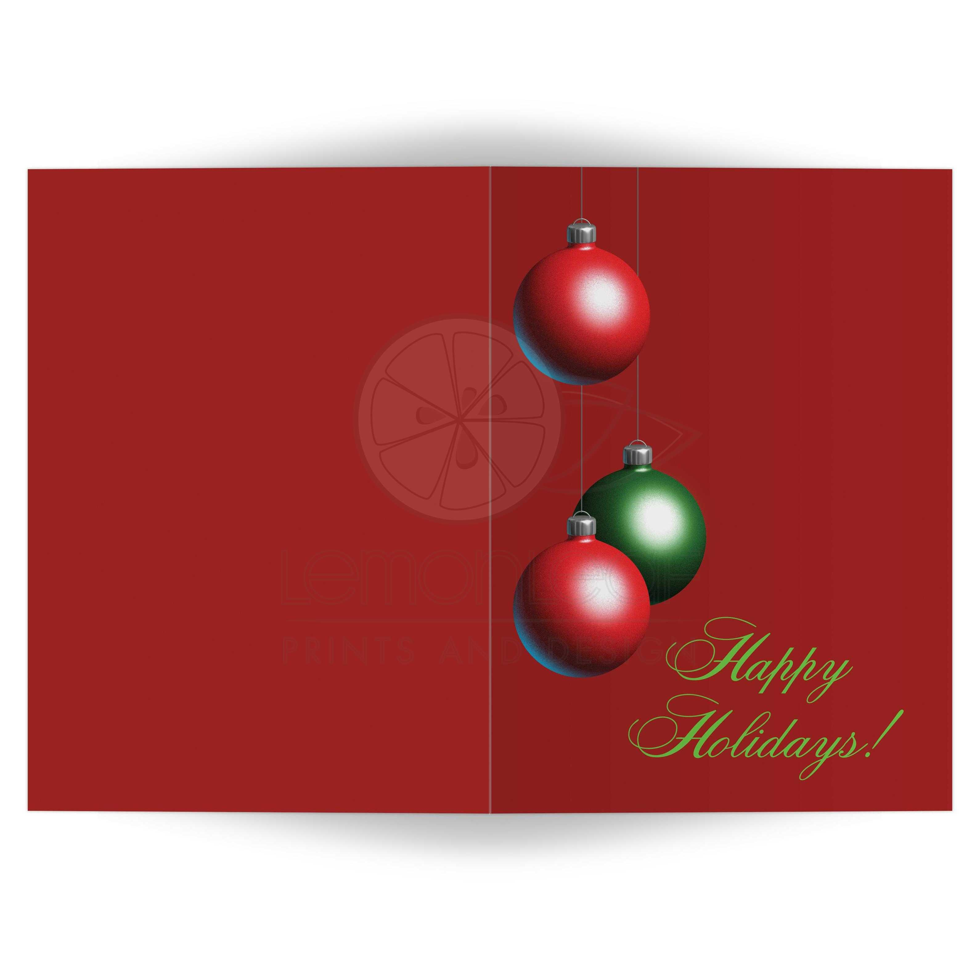 christmas ornaments decorate this cranberry red holiday card - Happy Holidays Card