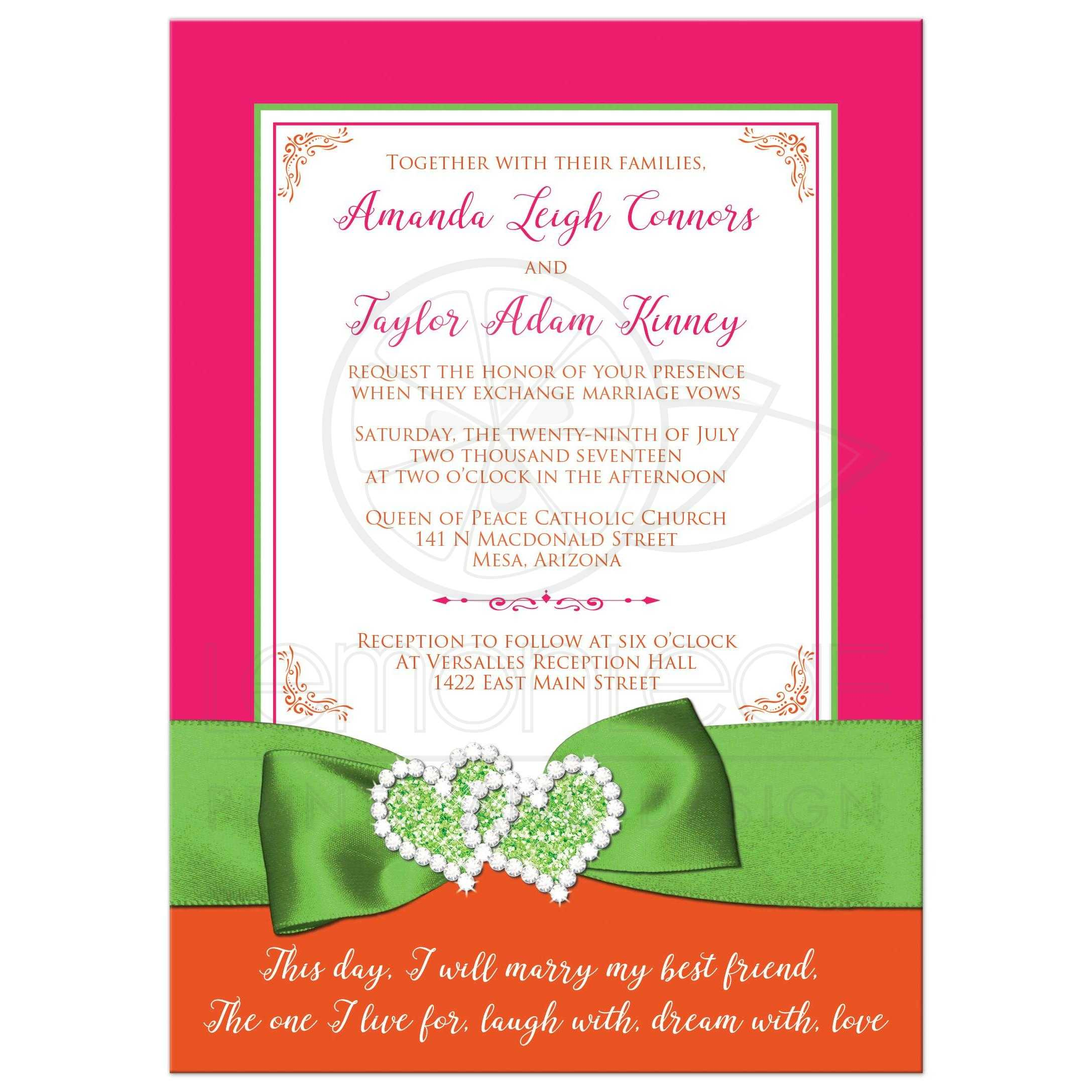 Tropical Wedding Invitation Hot Pink Orange Lime Printed