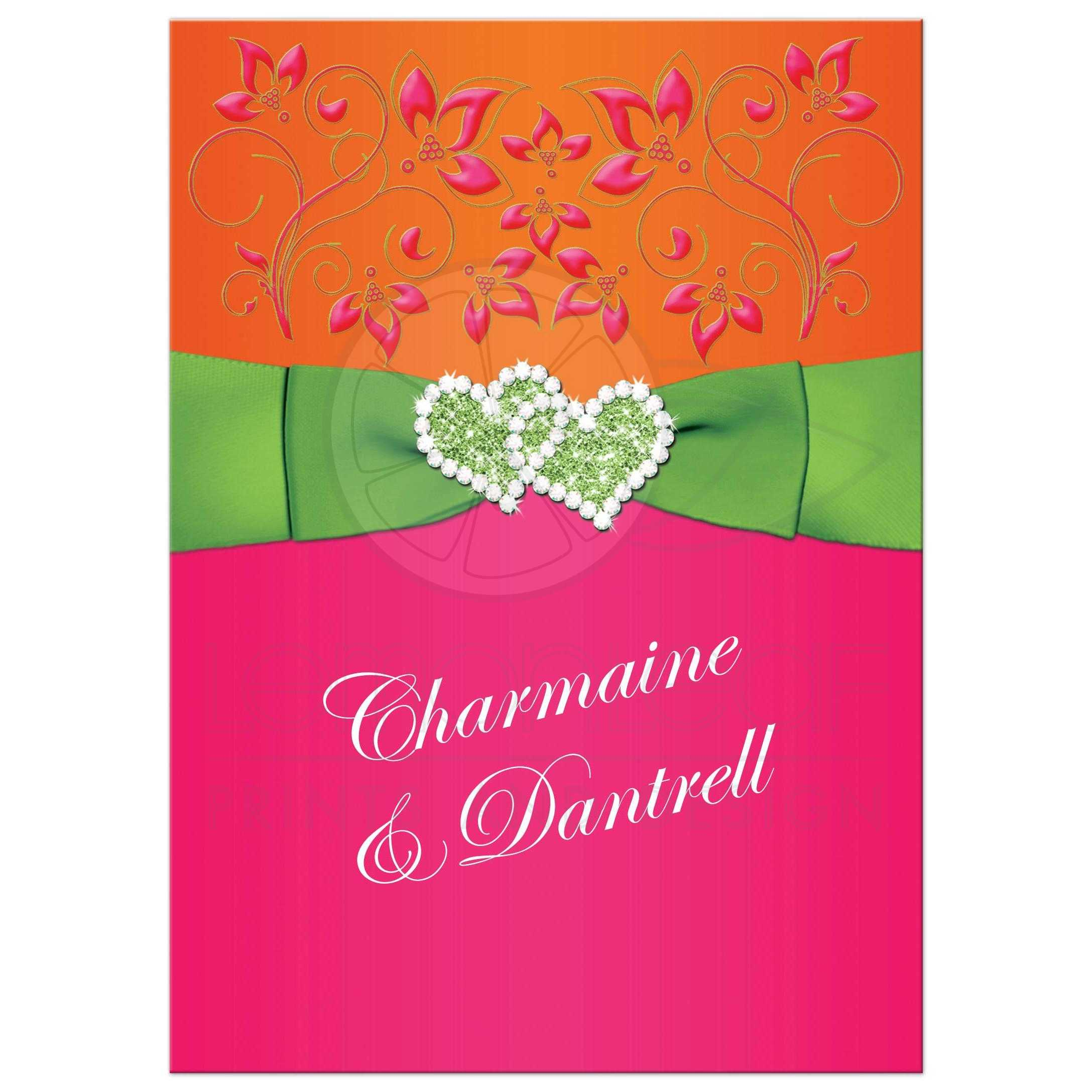 Double Hearts Wedding Invitation Tropical Hot Pink Orange Lime