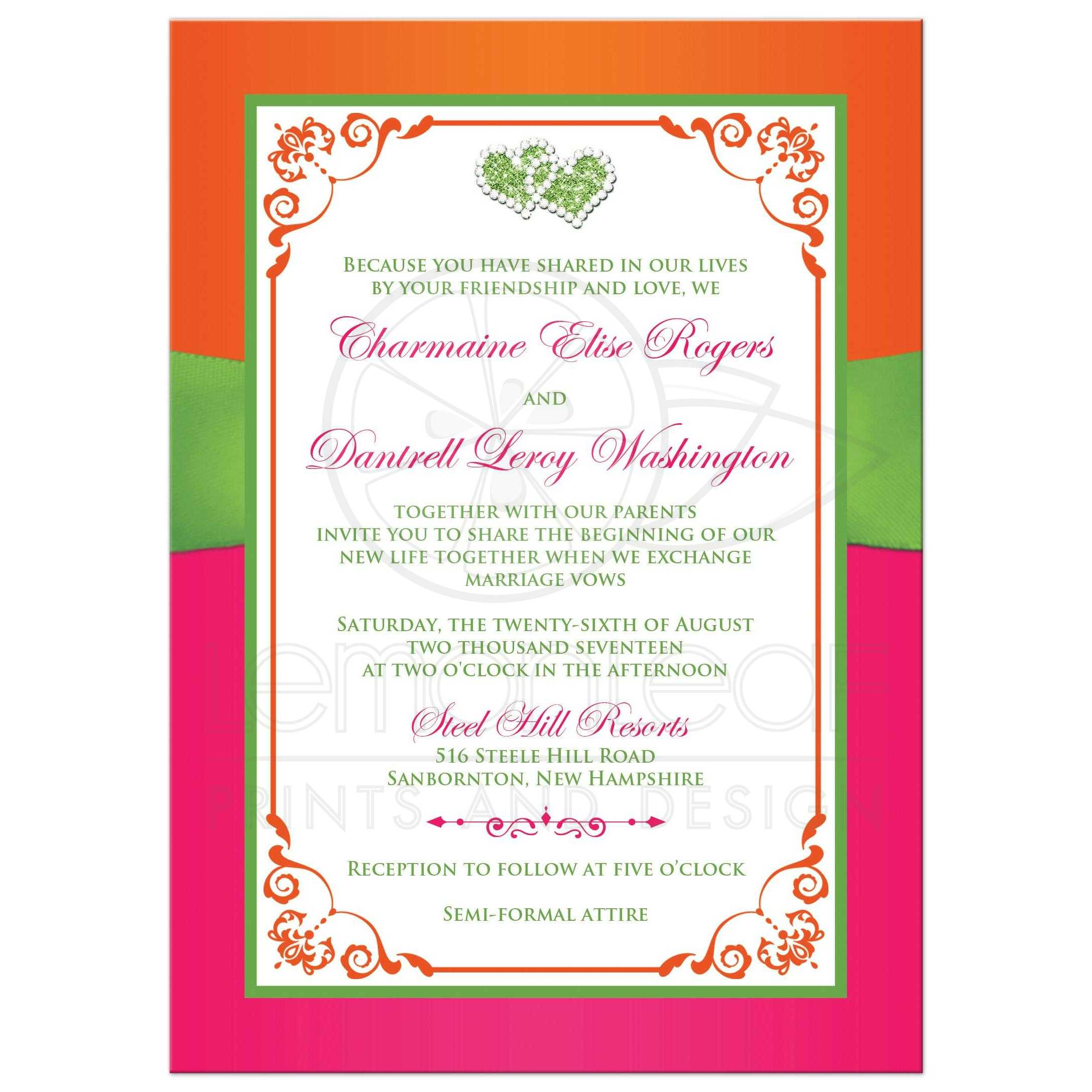 Double Hearts Wedding Invitation | Tropical Hot Pink, Orange, Lime ...