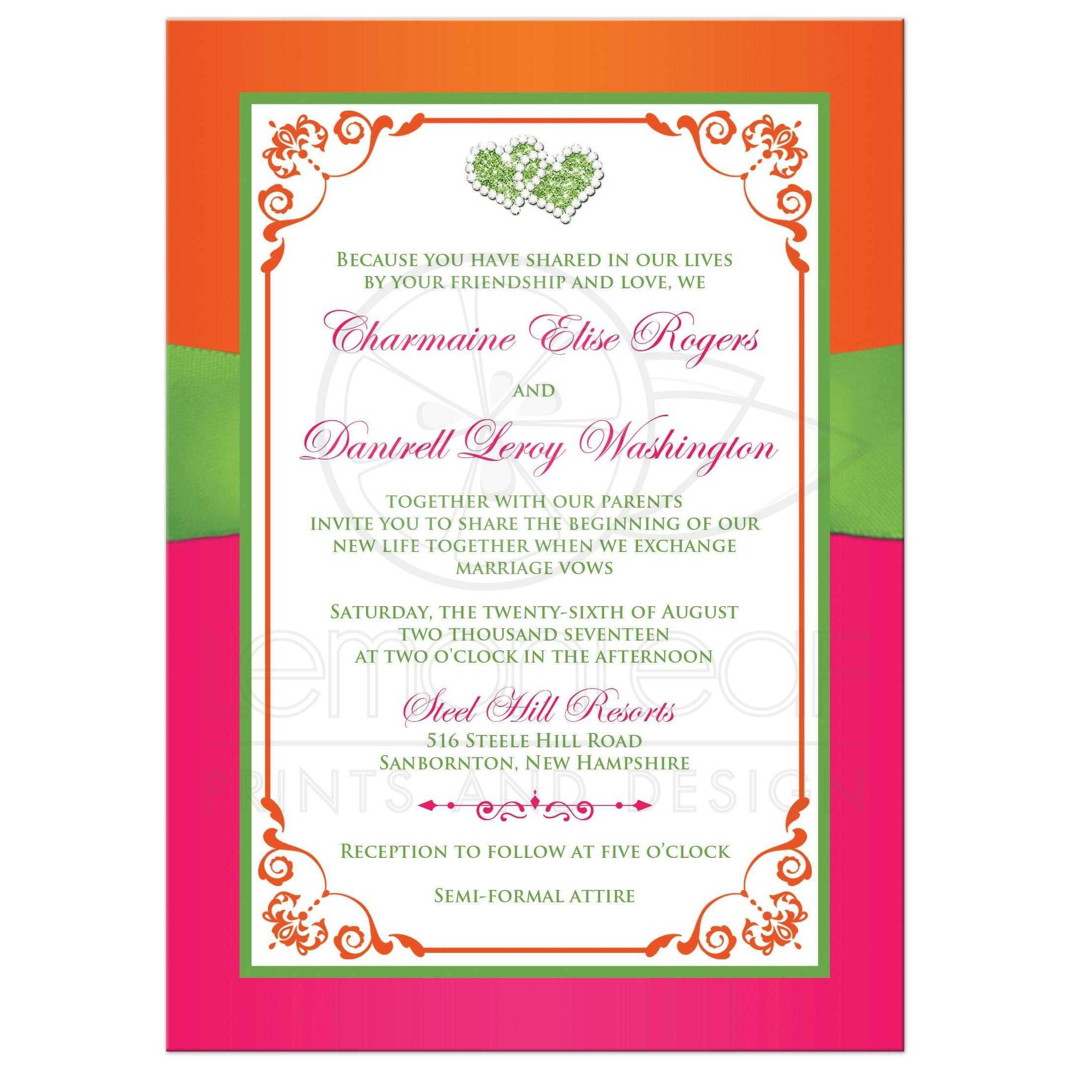 orange and green wedding invitations | Wedding