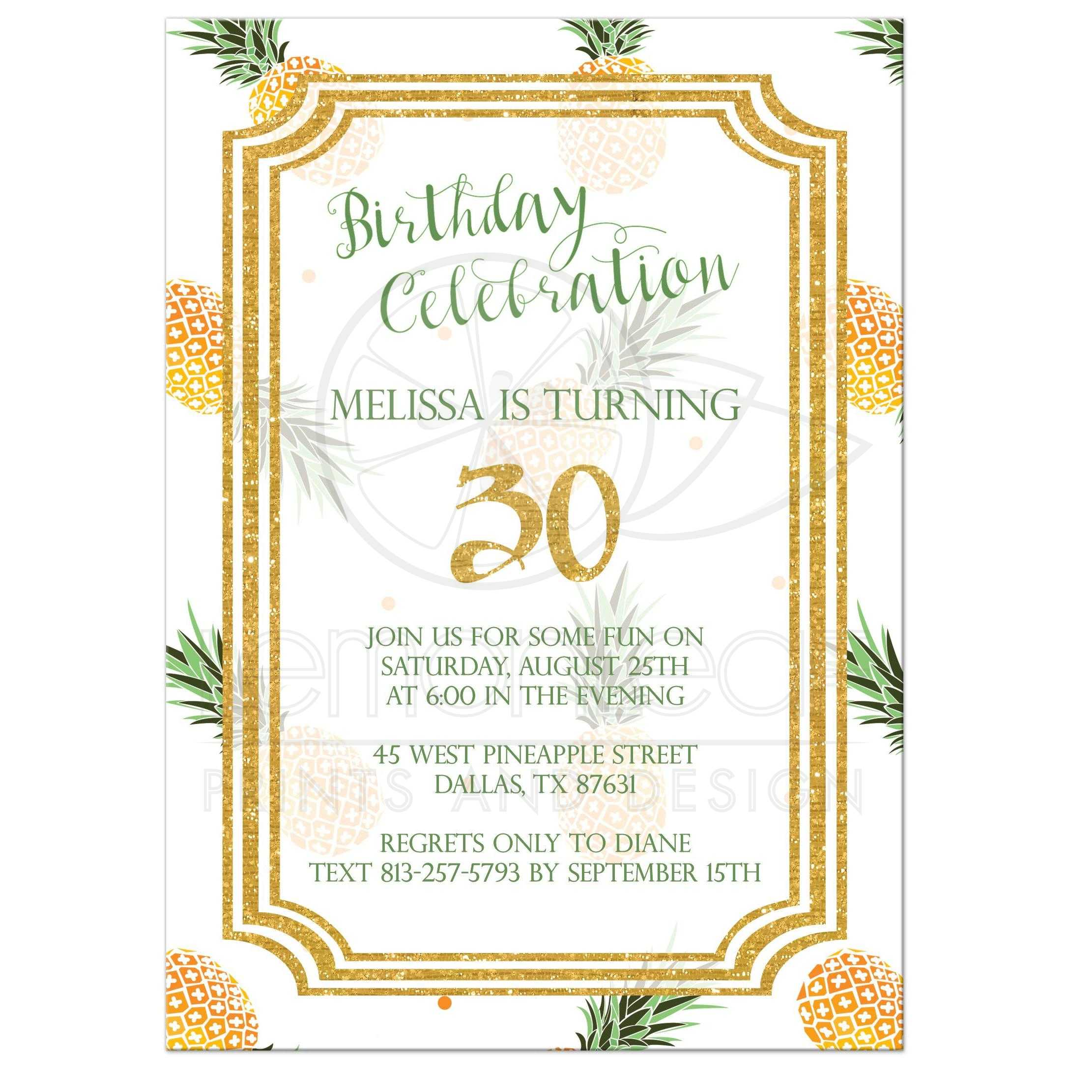 Pineapples and faux gold glitter birthday party invitation pineapple and gold glitter birthday party invitation filmwisefo