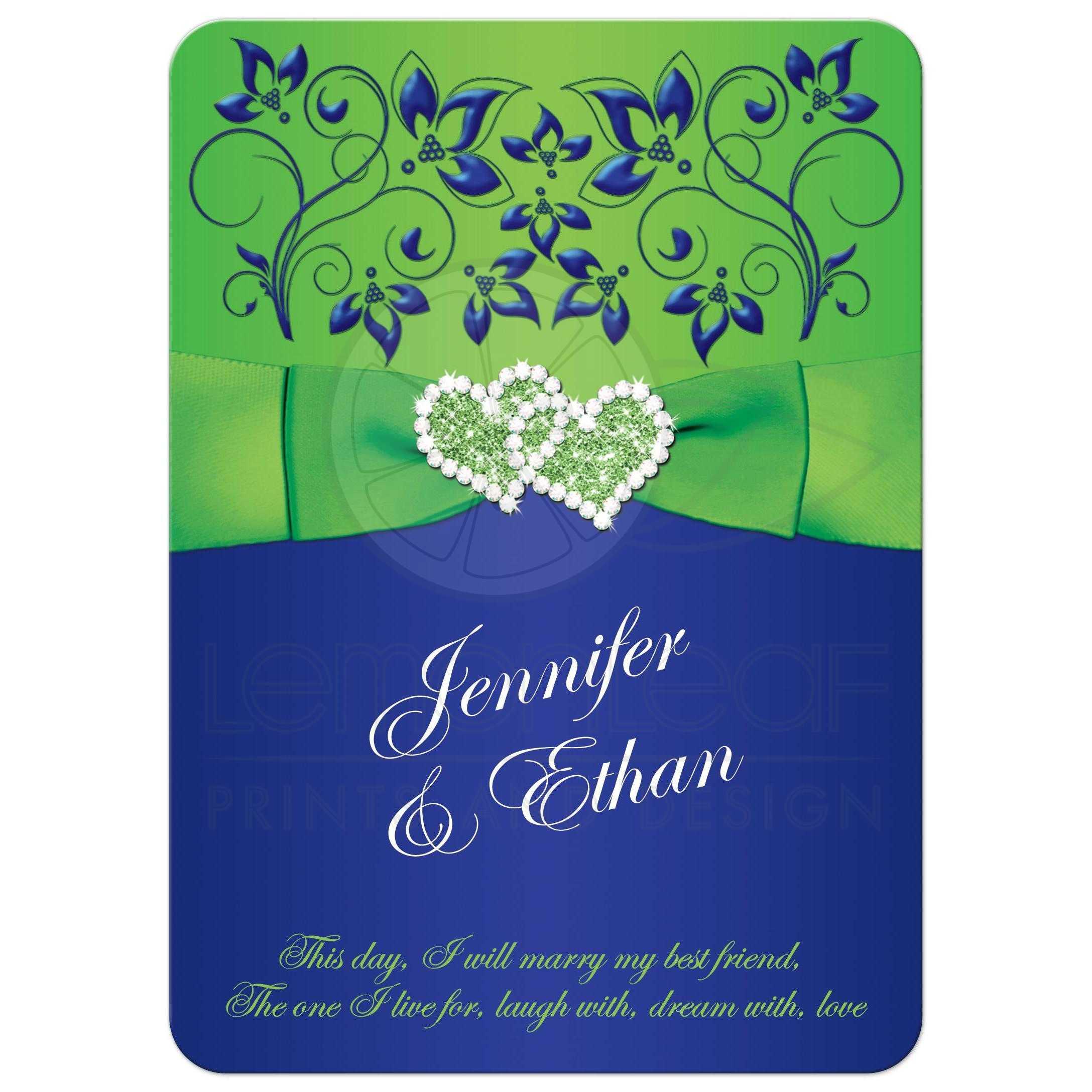 Wedding Invitation | Royal Blue, Lime Green Floral | PRINTED Ribbon ...