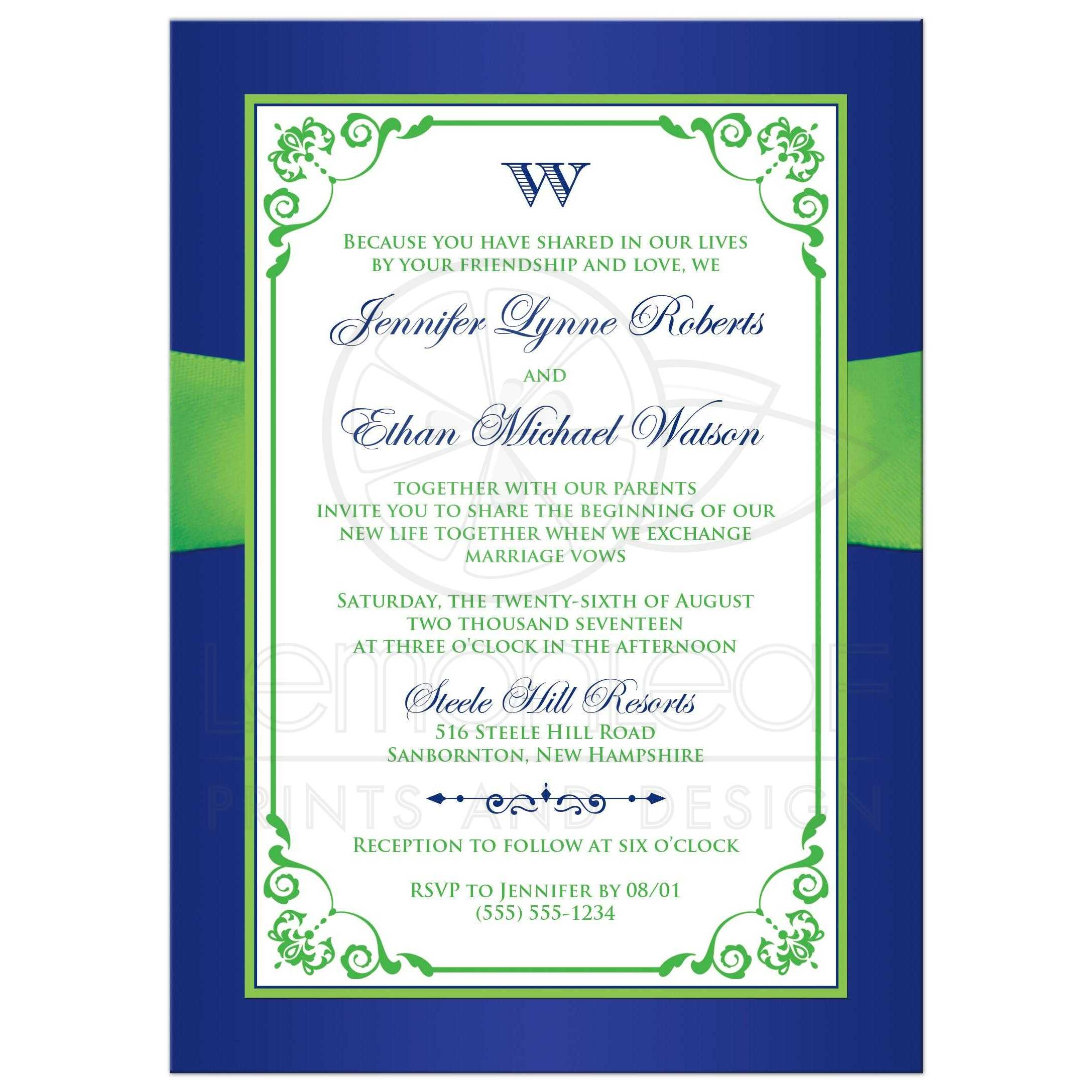 Glitter Royal Or Cobalt Blue Lime Green And White Wedding Invites With Chartreuse Ribbon
