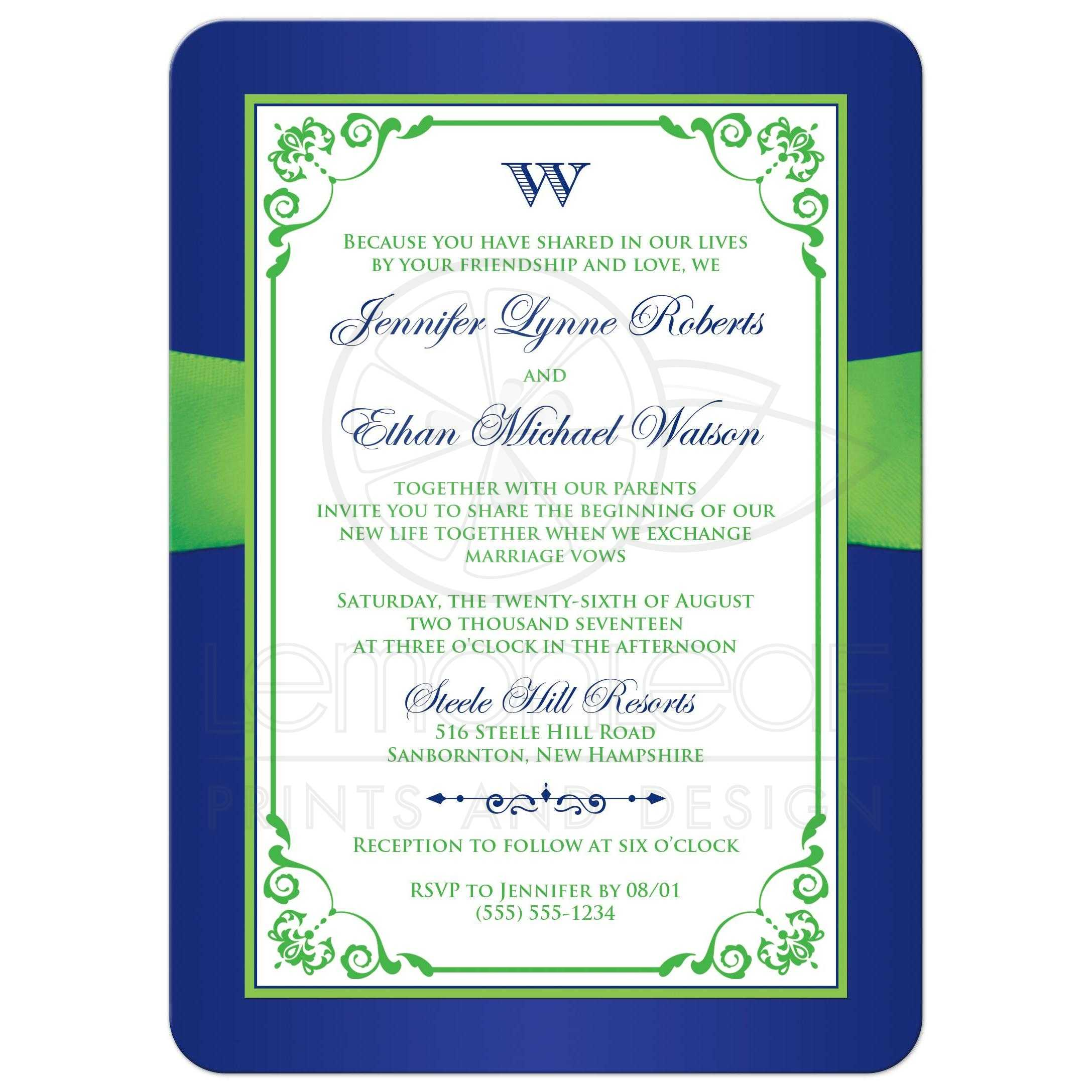 Wedding invitation royal blue lime green floral for Lime and blue