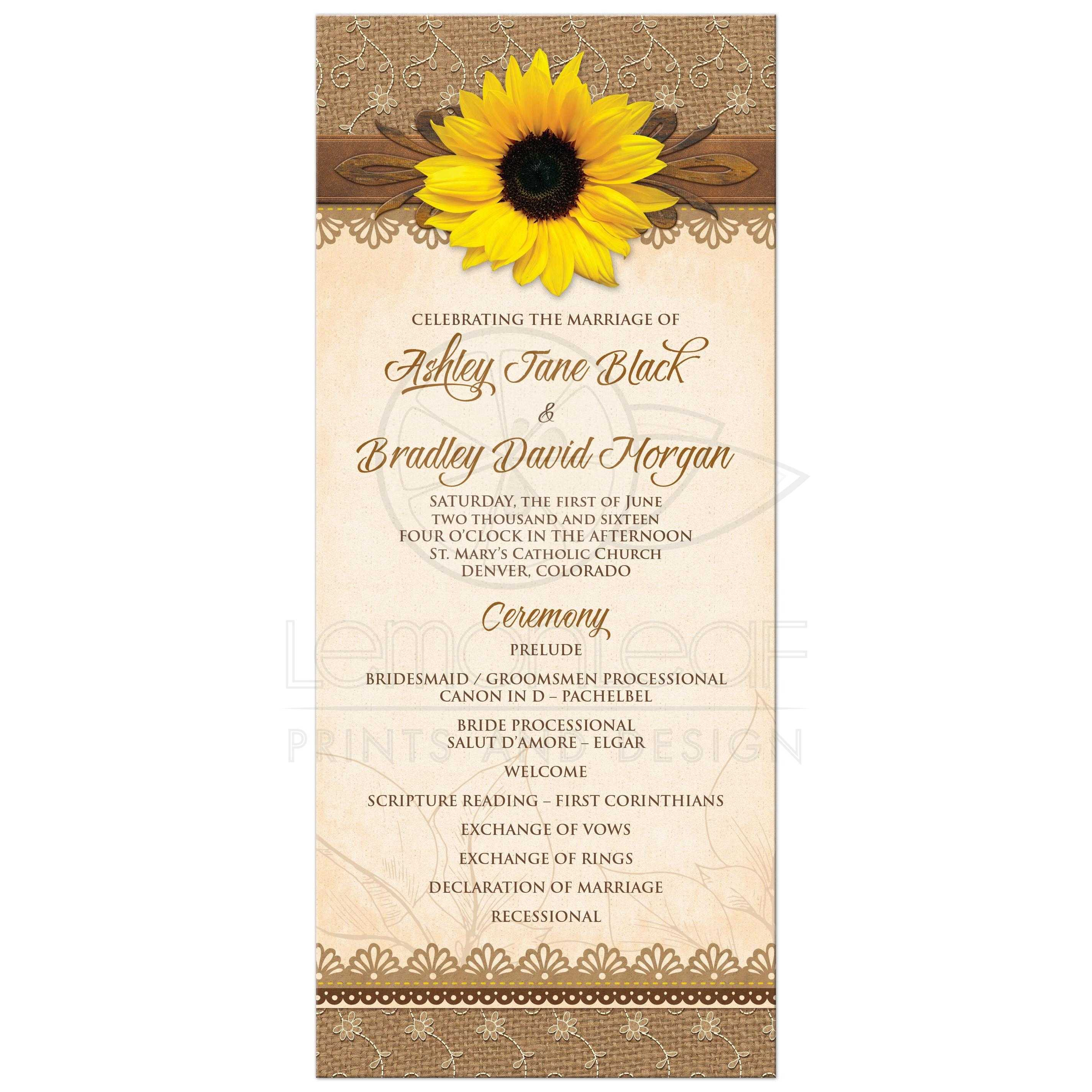 wedding program rustic sunflower burlap lace wood