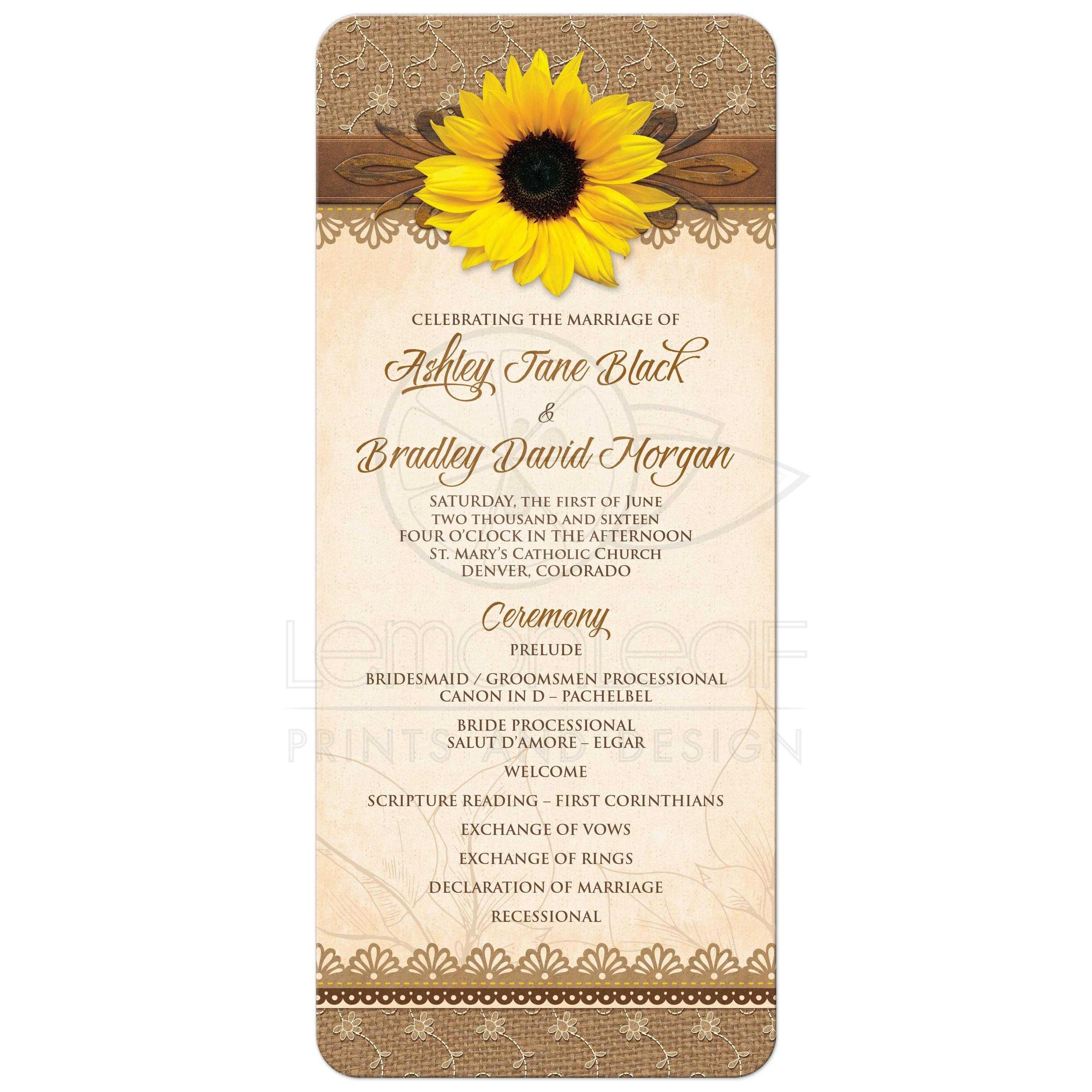 wedding program rustic sunflower burlap lace wood
