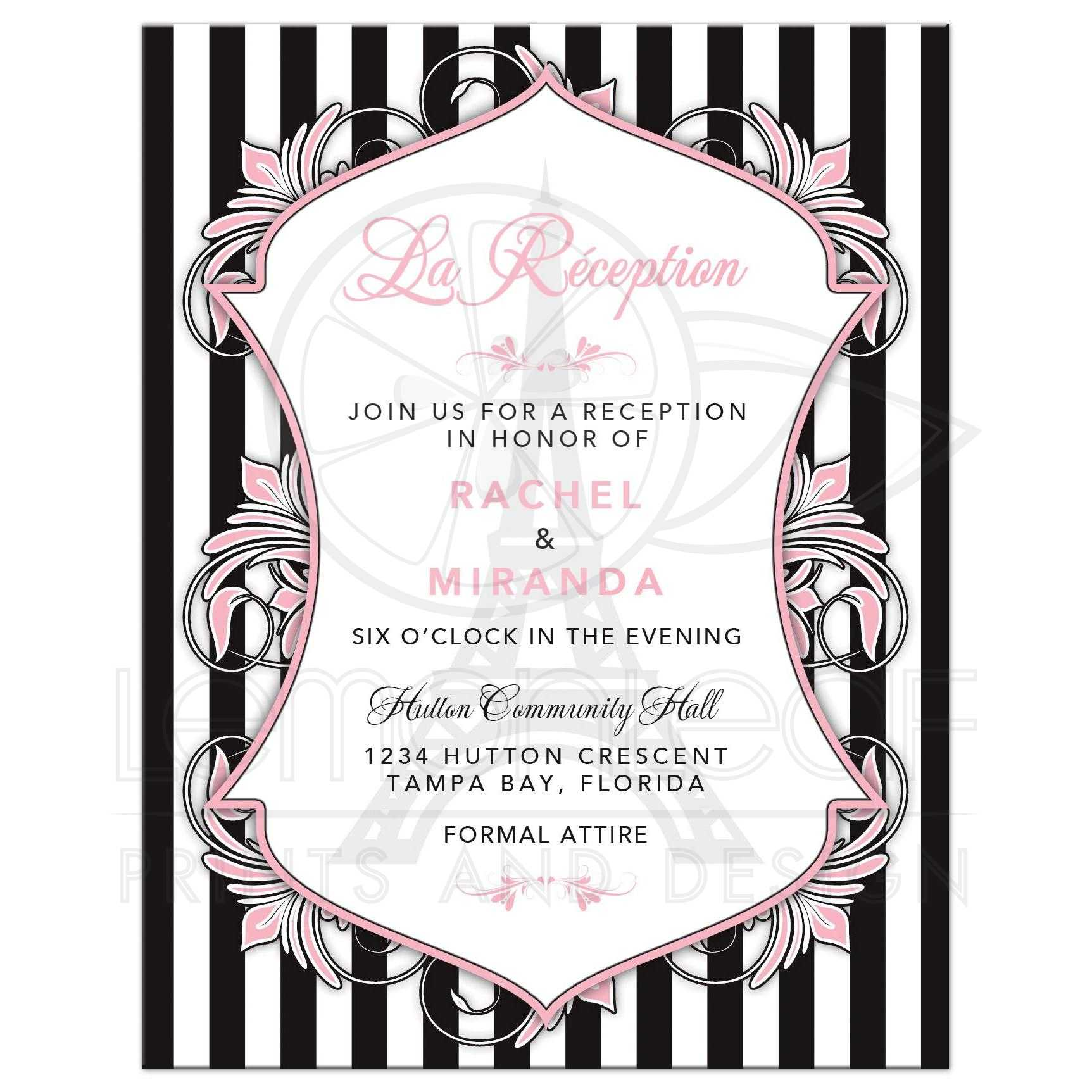 Paris Eiffel Tower Mitzvah Reception Card | Pink Black White Chic ...