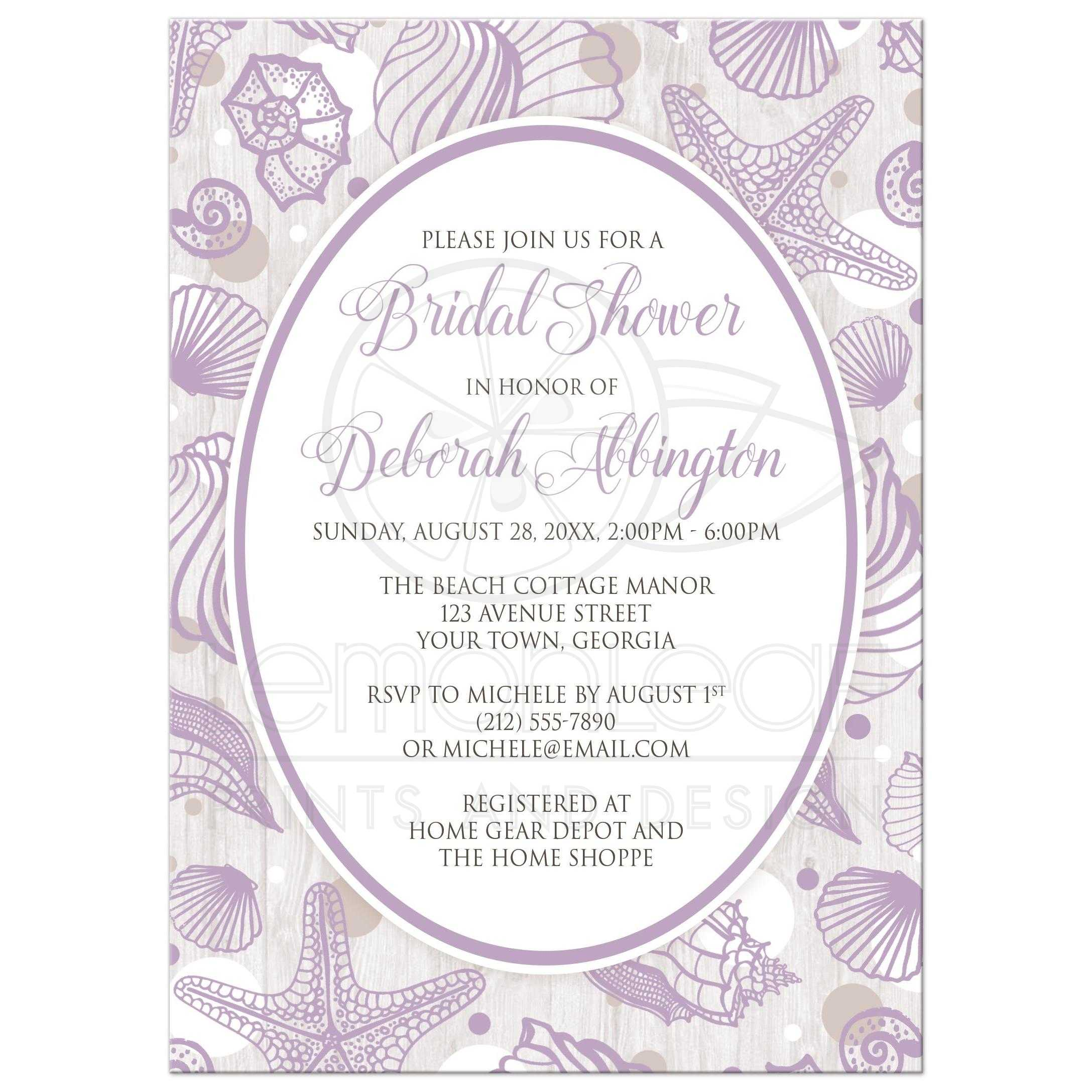 bridal shower invitations beach purple seashell whitewashed wood