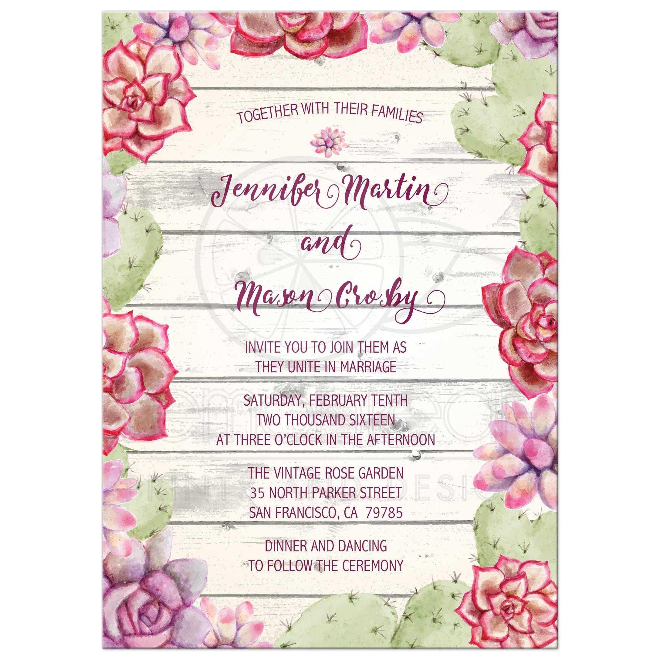 Rustic Cactus and Succulents Wedding Invitation