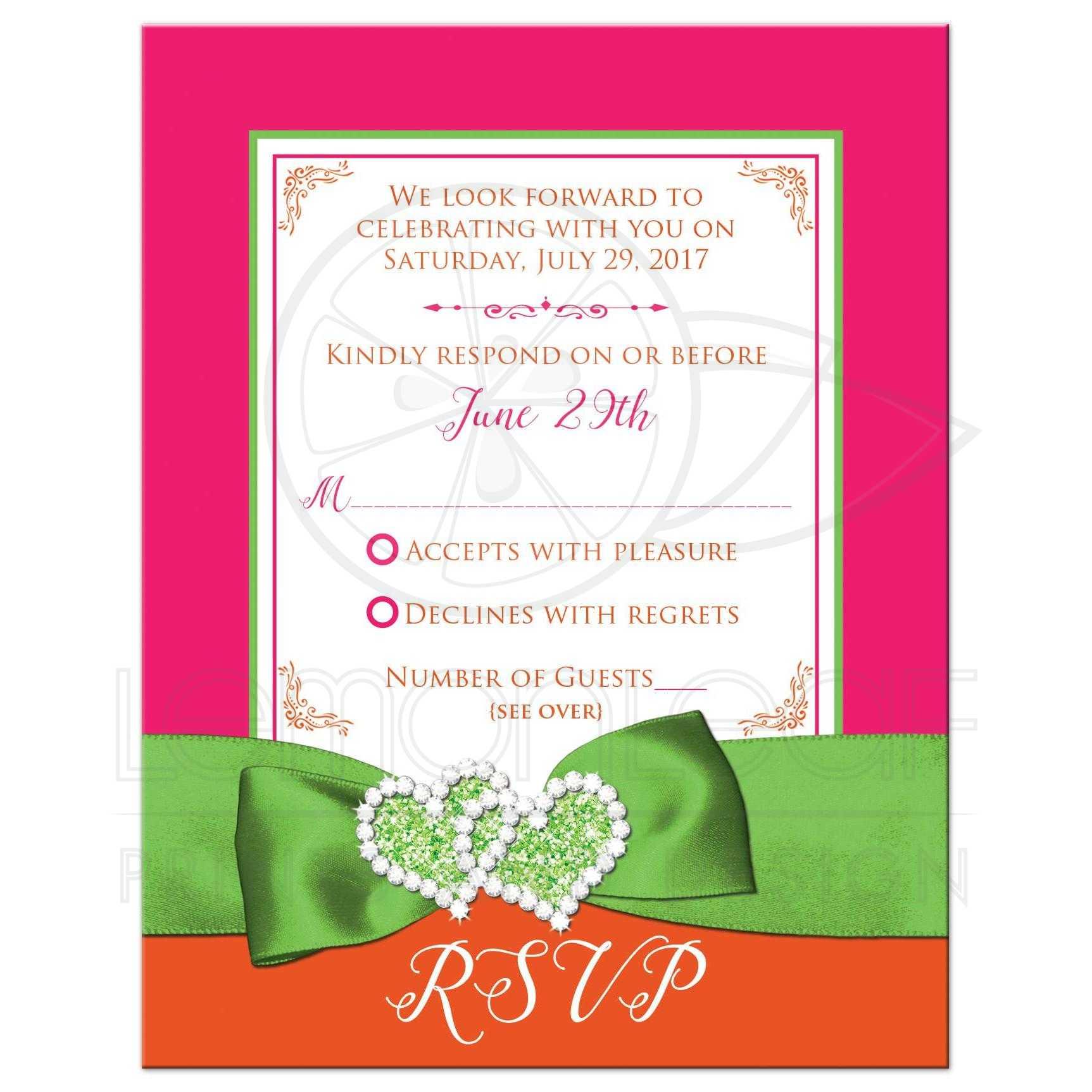 Tropical Wedding RSVP Card | Hot Pink, Orange, Lime | PRINTED Ribbon ...