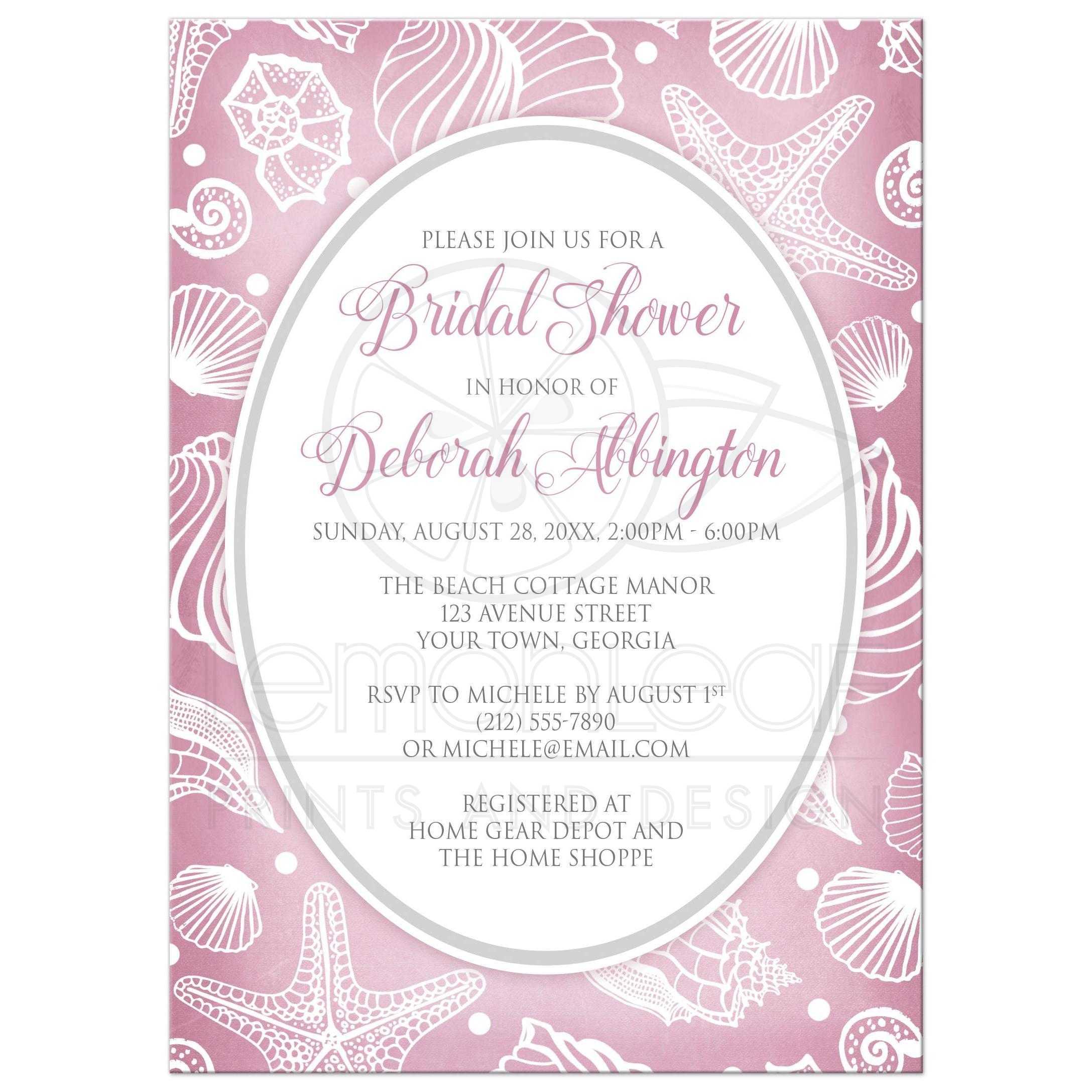 Bridal shower invitations pretty pink beach white seashell filmwisefo