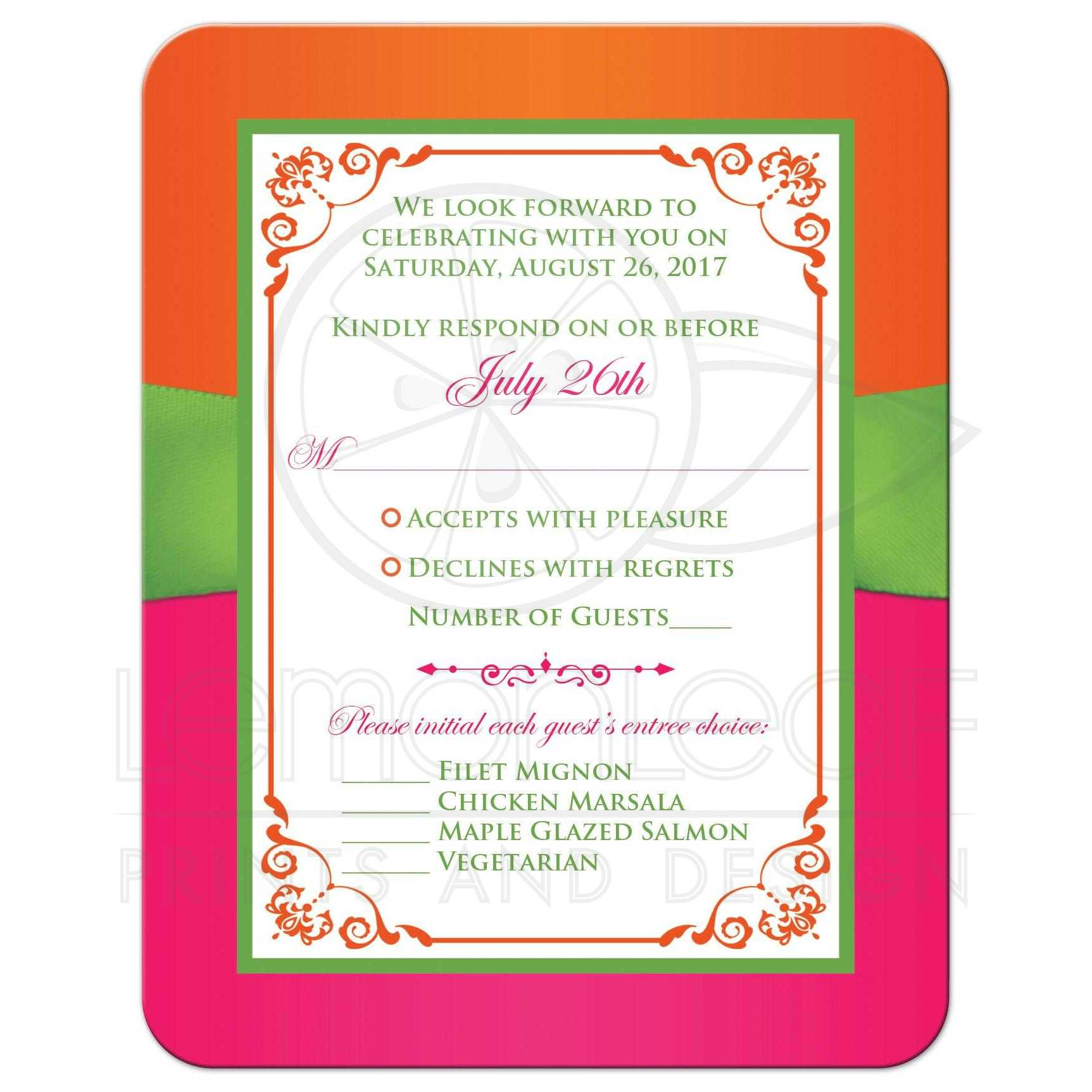 pink orange and green wedding invitations - 28 images - green ...