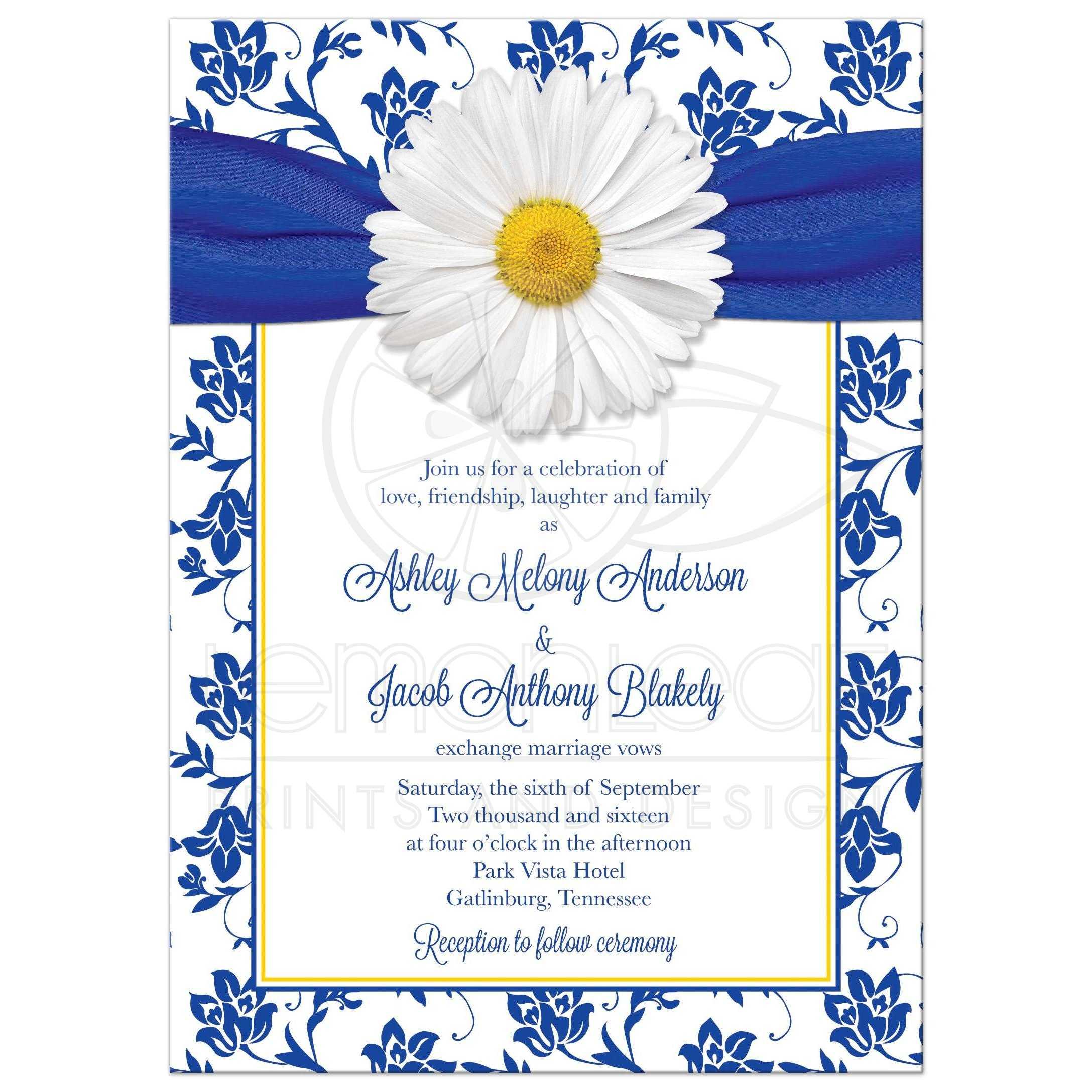 White Shasta Daisy And Royal Blue Floral Damask And Ribbon Wedding  Invitation Front ...