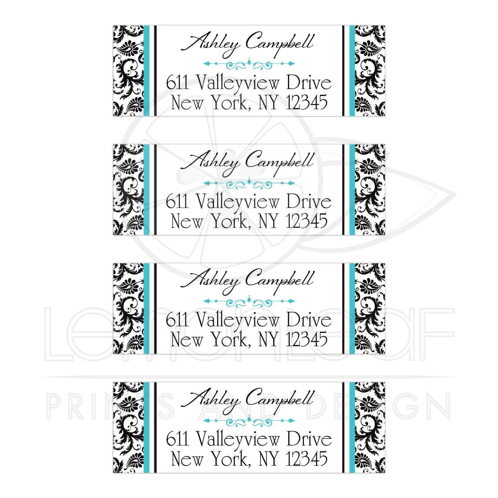 personalized address labels black white floral damask aqua blue