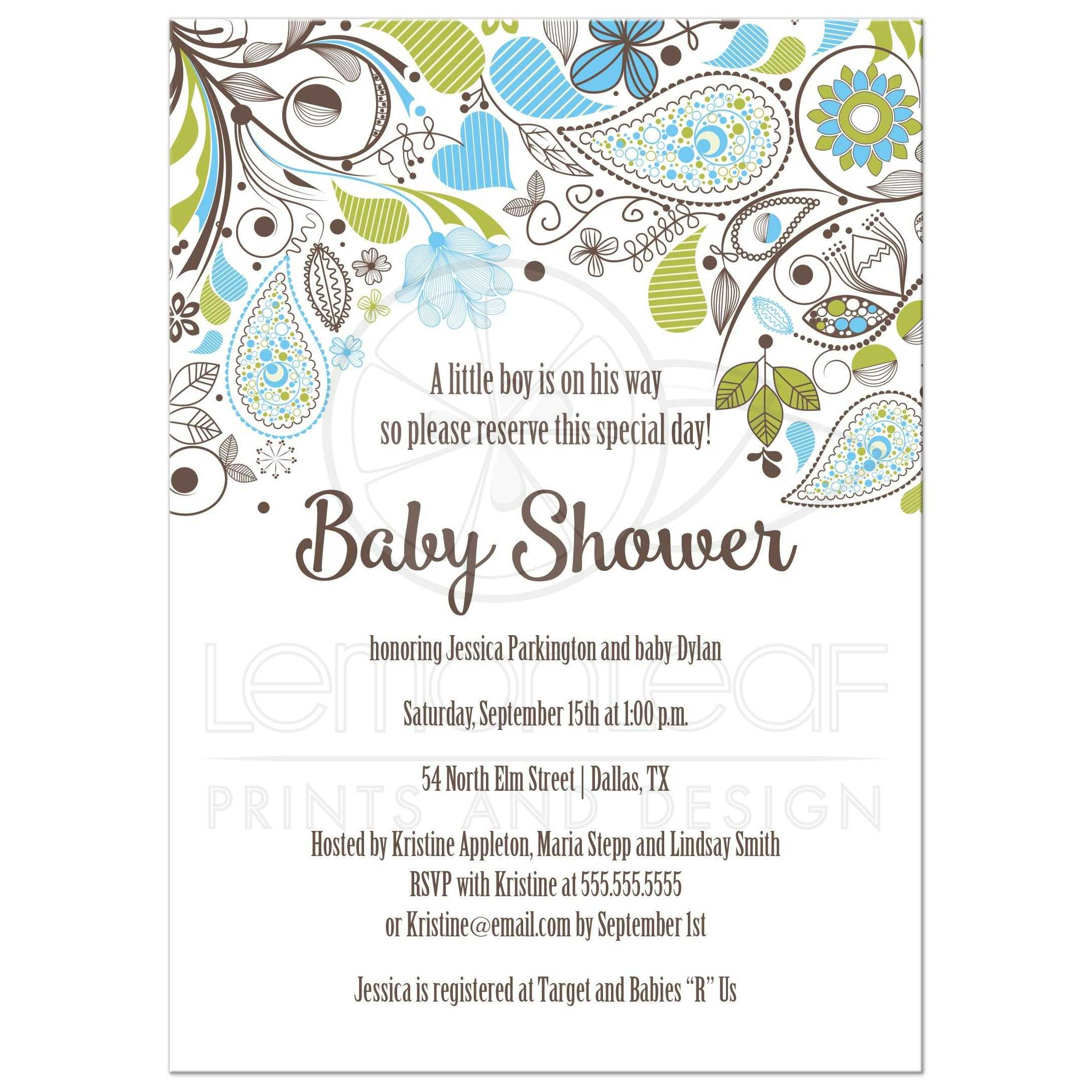 Blue and Green Paisley Boy Baby Shower Invitation