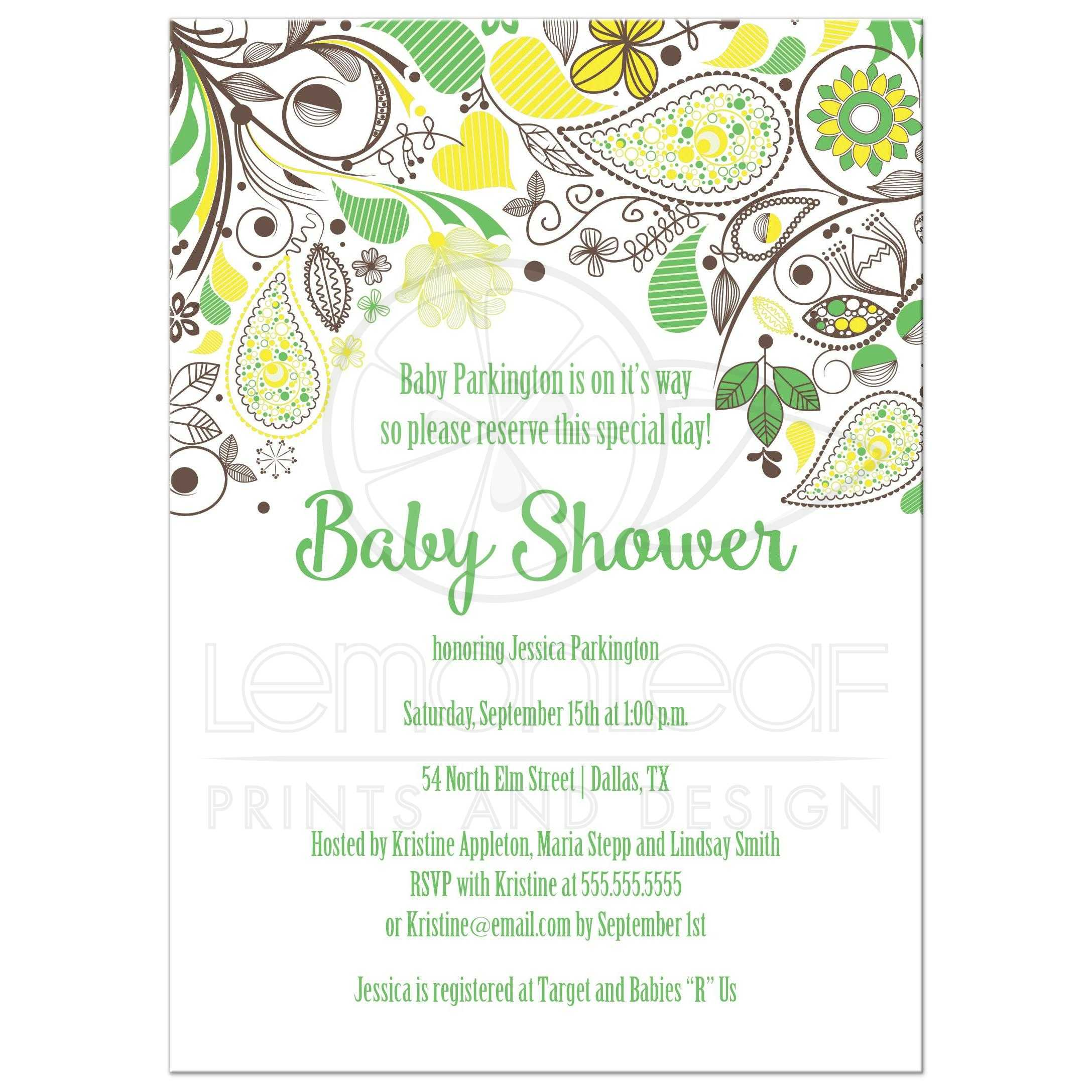 Yellow and green paisley neutral baby shower invitation yellow and green paisley floral baby shower invitation filmwisefo