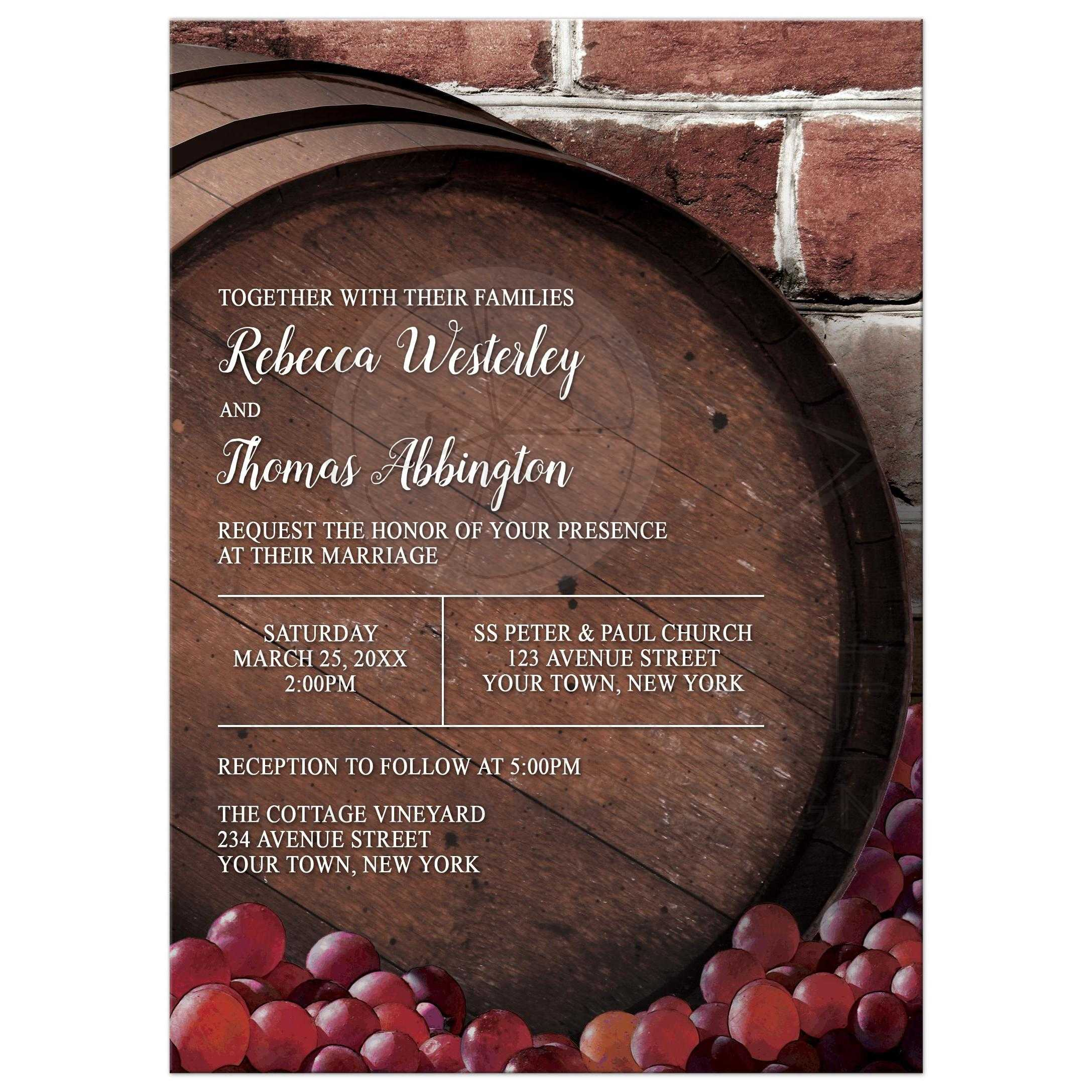 Wedding Invitations Rustic Wine Barrel Vineyard