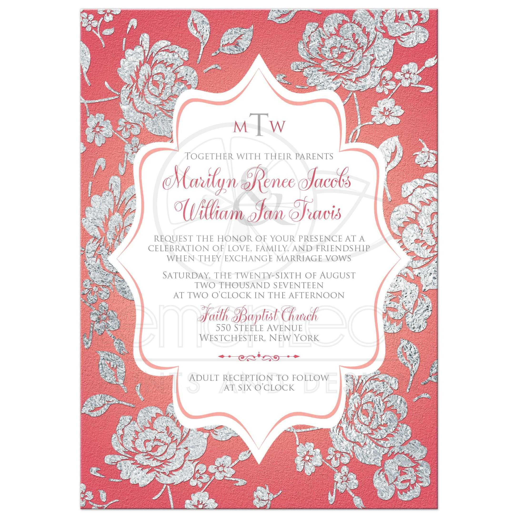 Coral Pink Wedding Invitation | Monogrammed FAUX Silver Floral on White