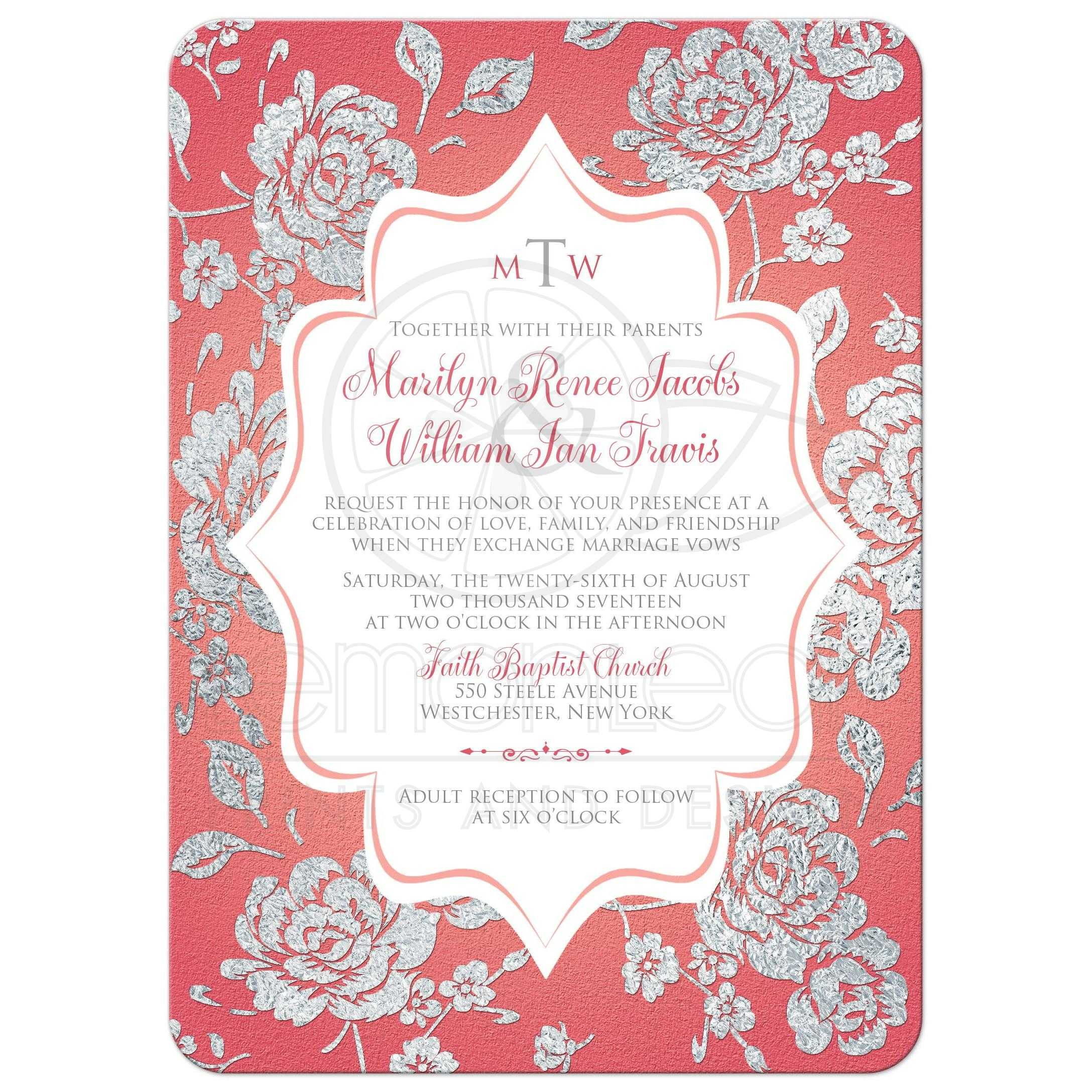 coral pink wedding invitation monogrammed faux silver floral on white
