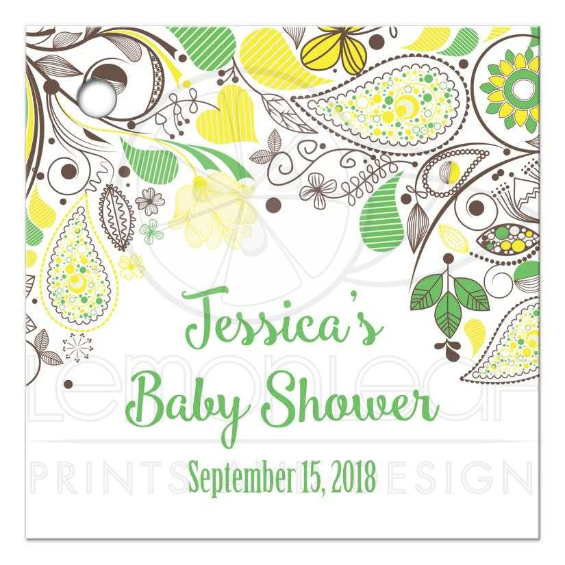 Yellow And Green Neutral Baby Shower Favor Gift Tags
