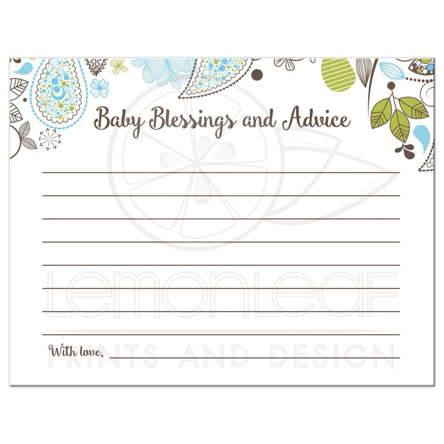 Blue And Green Baby Shower Advice Card