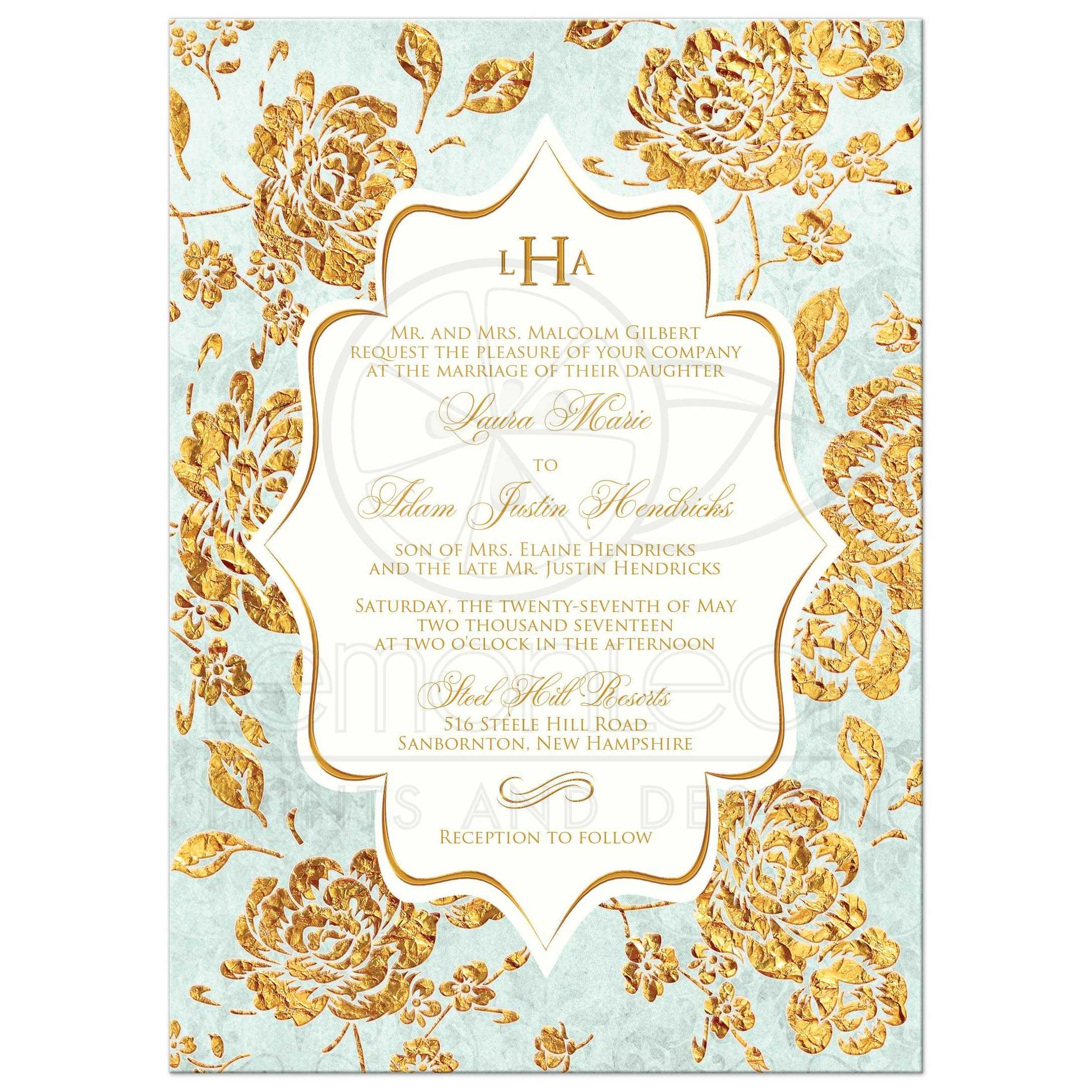 Monogrammed Vintage Floral Wedding Invitation | Mint Green, Ivory ...
