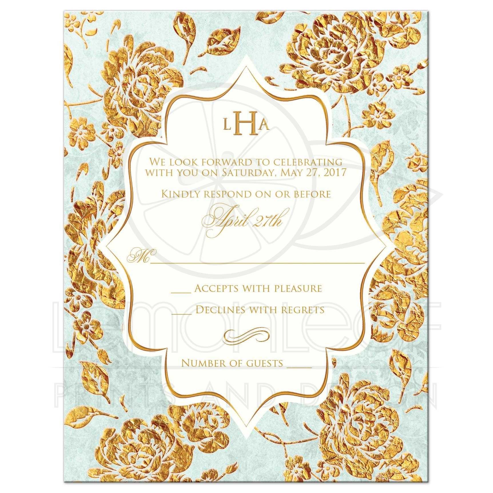 Monogrammed Vintage Floral Wedding Response Card Mint Green Ivory