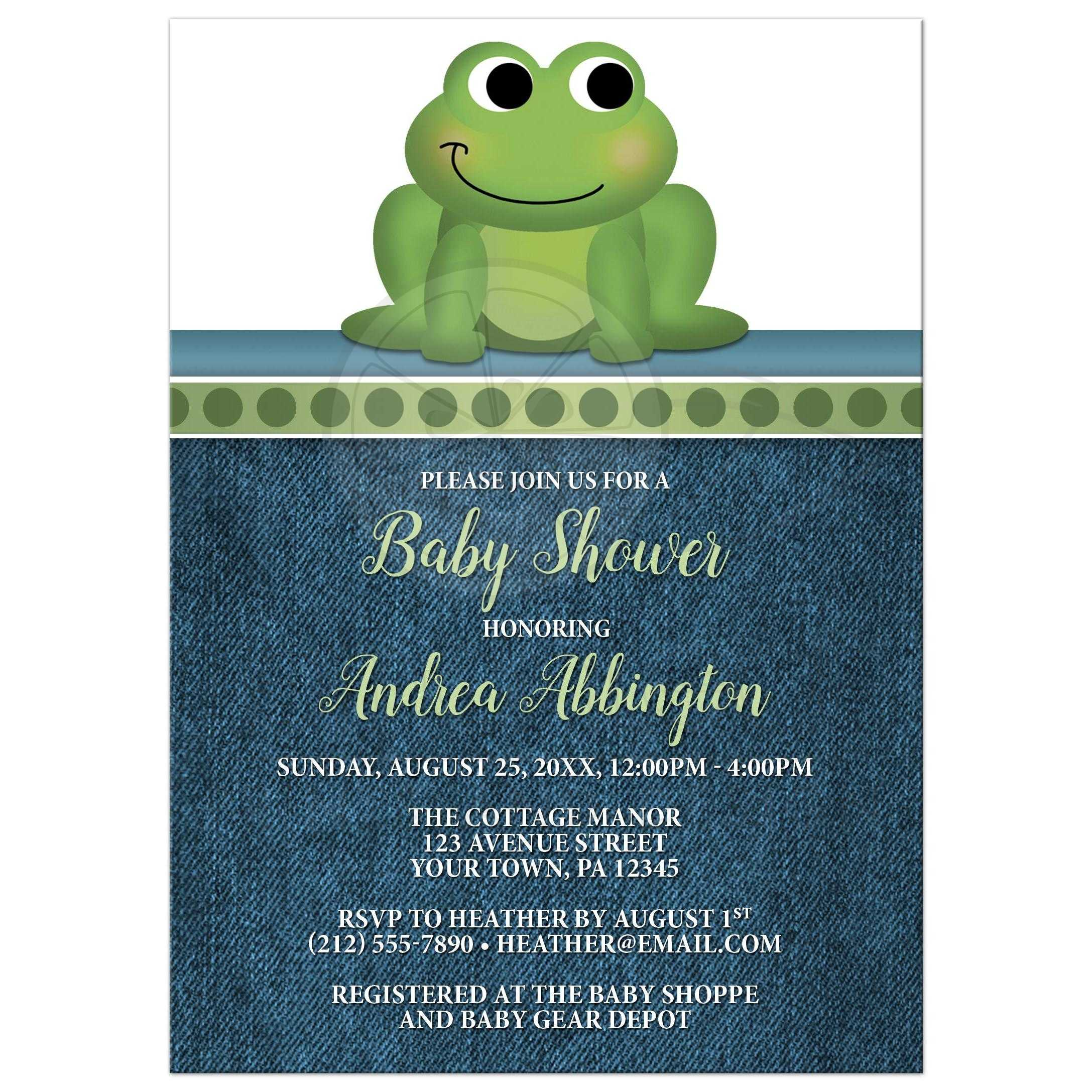 shower baby shower invitations cute frog green rustic blue denim