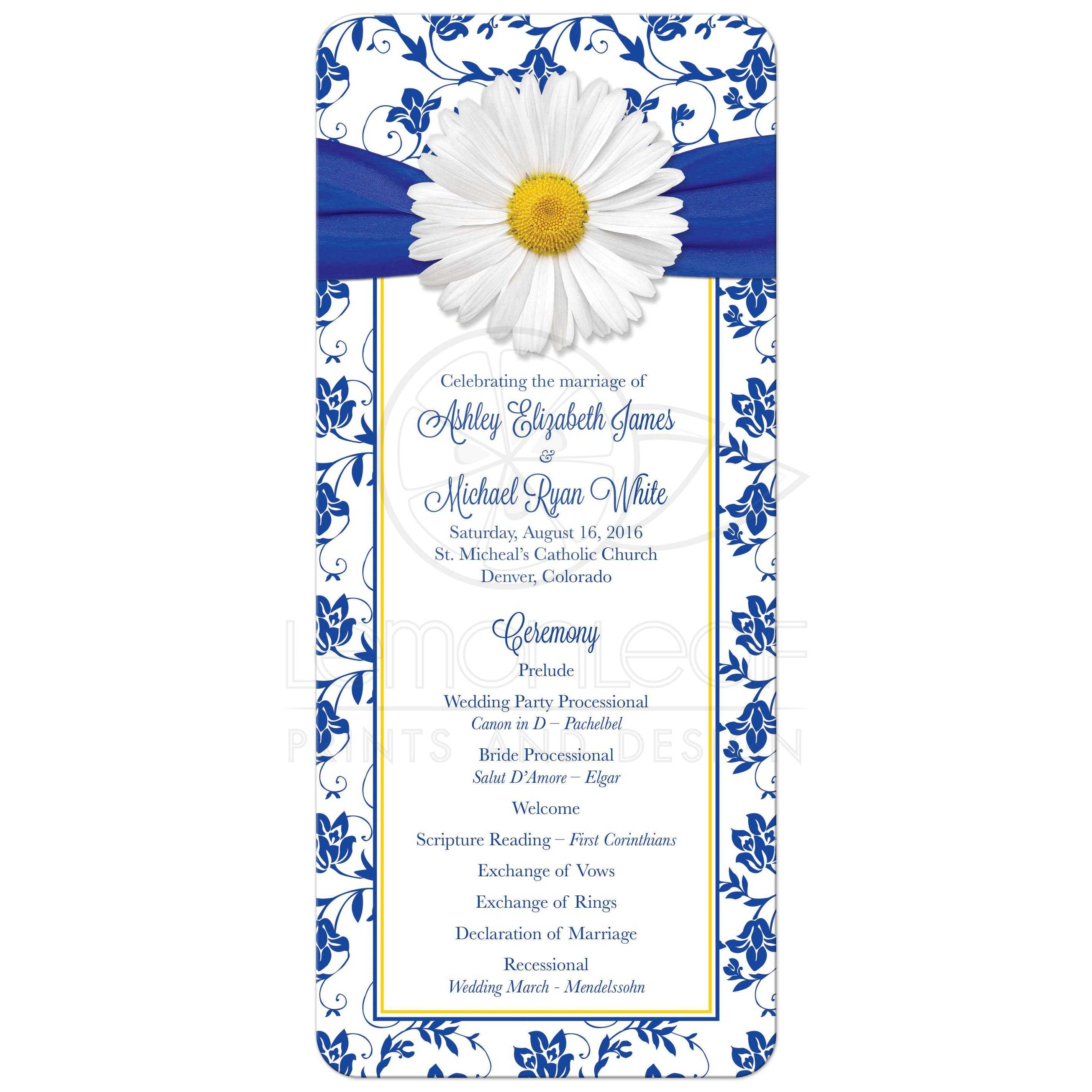 White Daisy And Royal Blue Floral Damask Ribbon Wedding Program Front