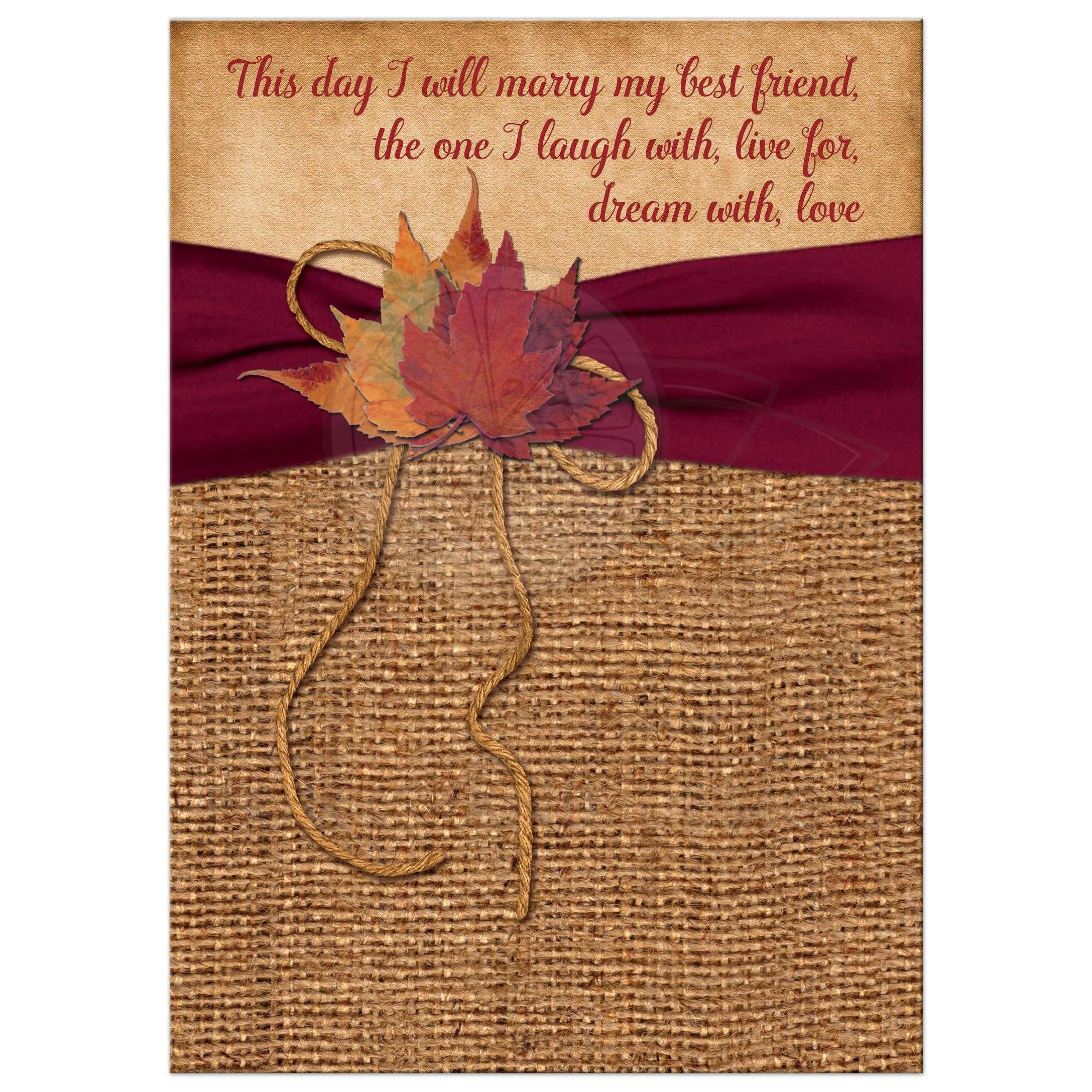 Rustic Country Wedding Invitation Autumn Leaves On Faux Burlap Printed Wine Ribbon