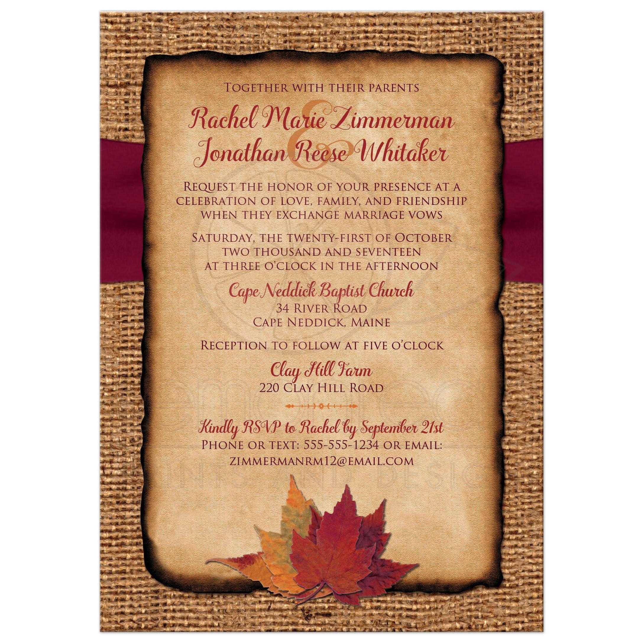 burlap wedding invites with a burgundy ribbon twine bow and burnt orange - Burlap Wedding Invitations