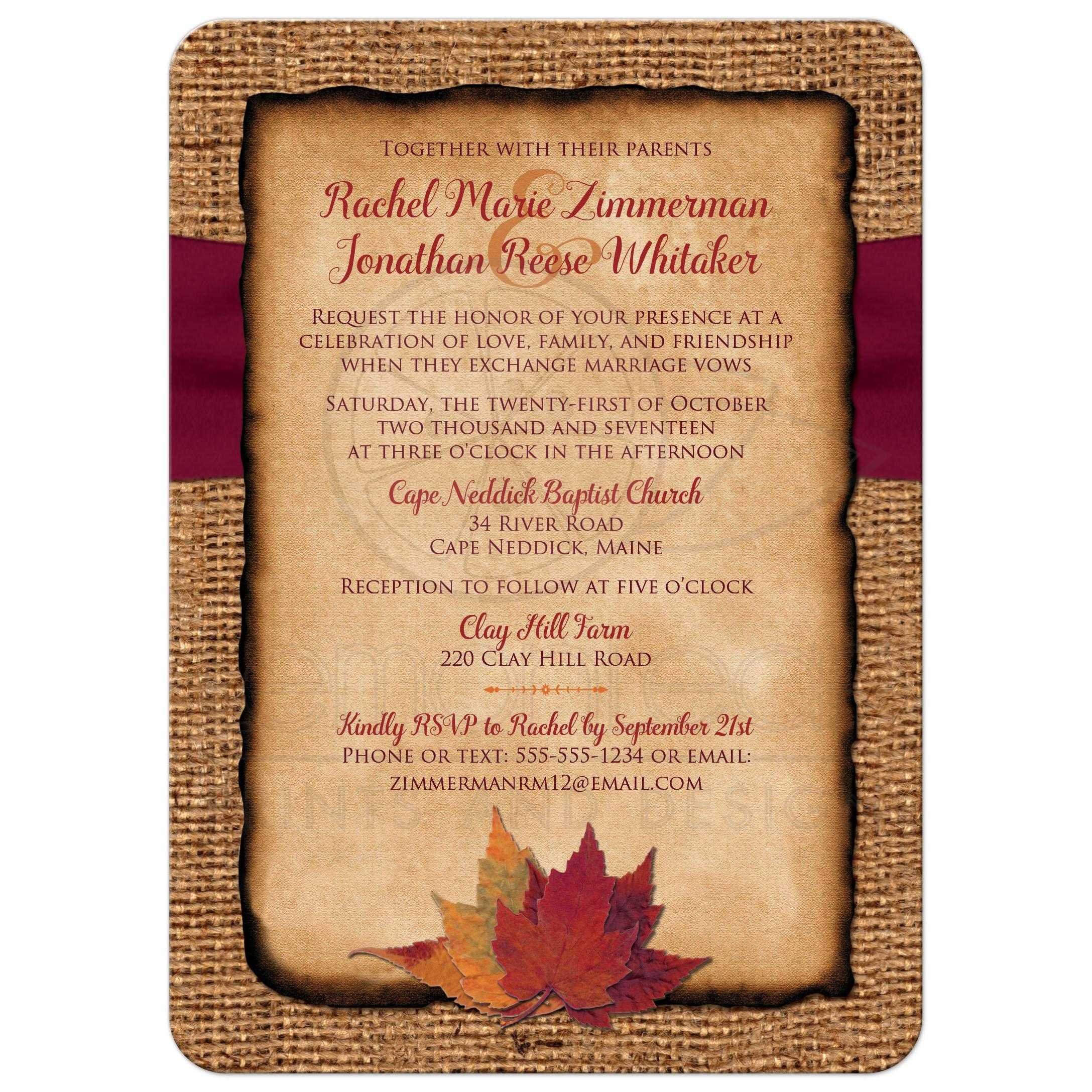 Rustic Country Wedding Invitation   Autumn Leaves on Faux Burlap ...