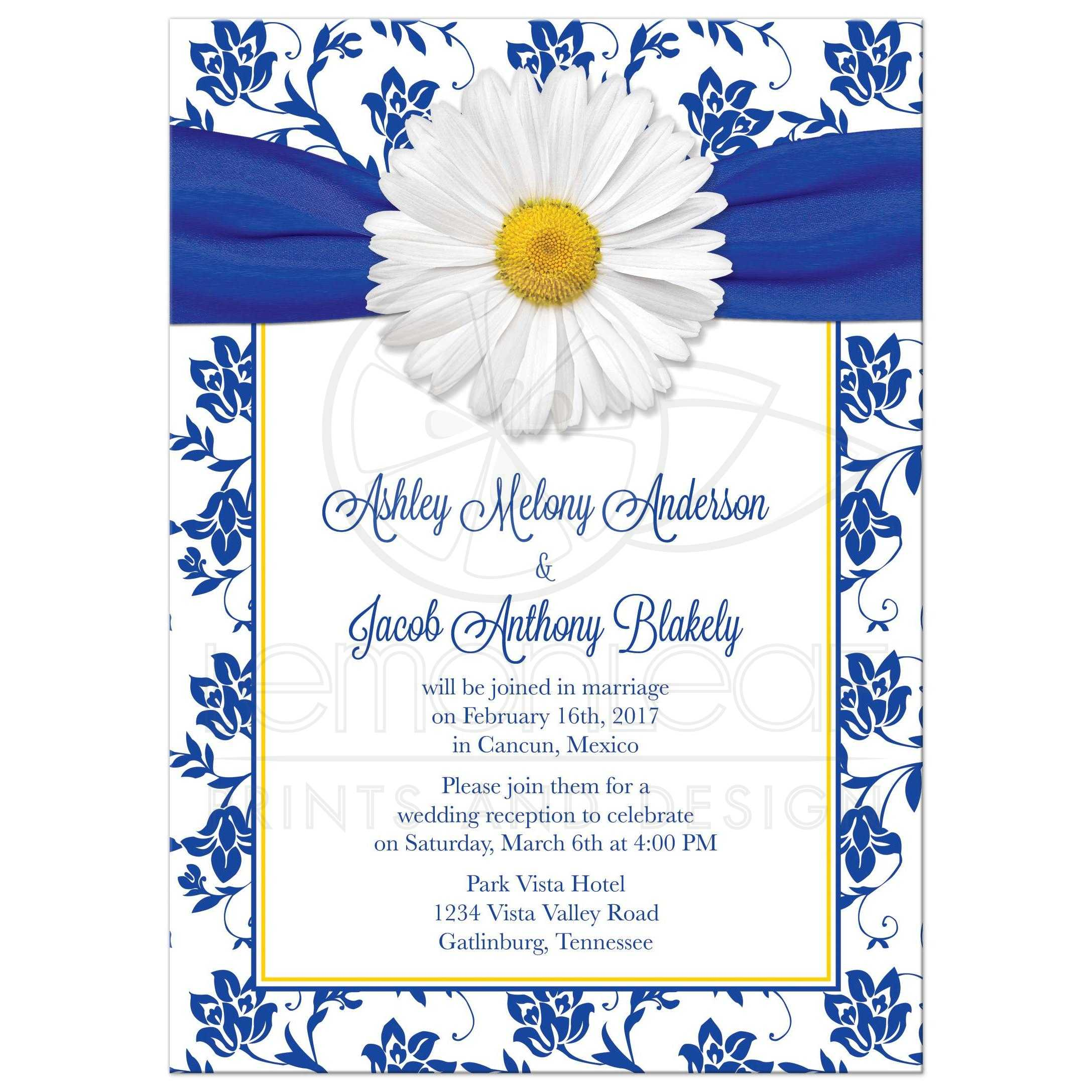 Personalized White Daisy Royal Blue Damask Floral Post Wedding Reception Only Invitations Front: Daisy Do It Yourself Wedding Invitations At Websimilar.org
