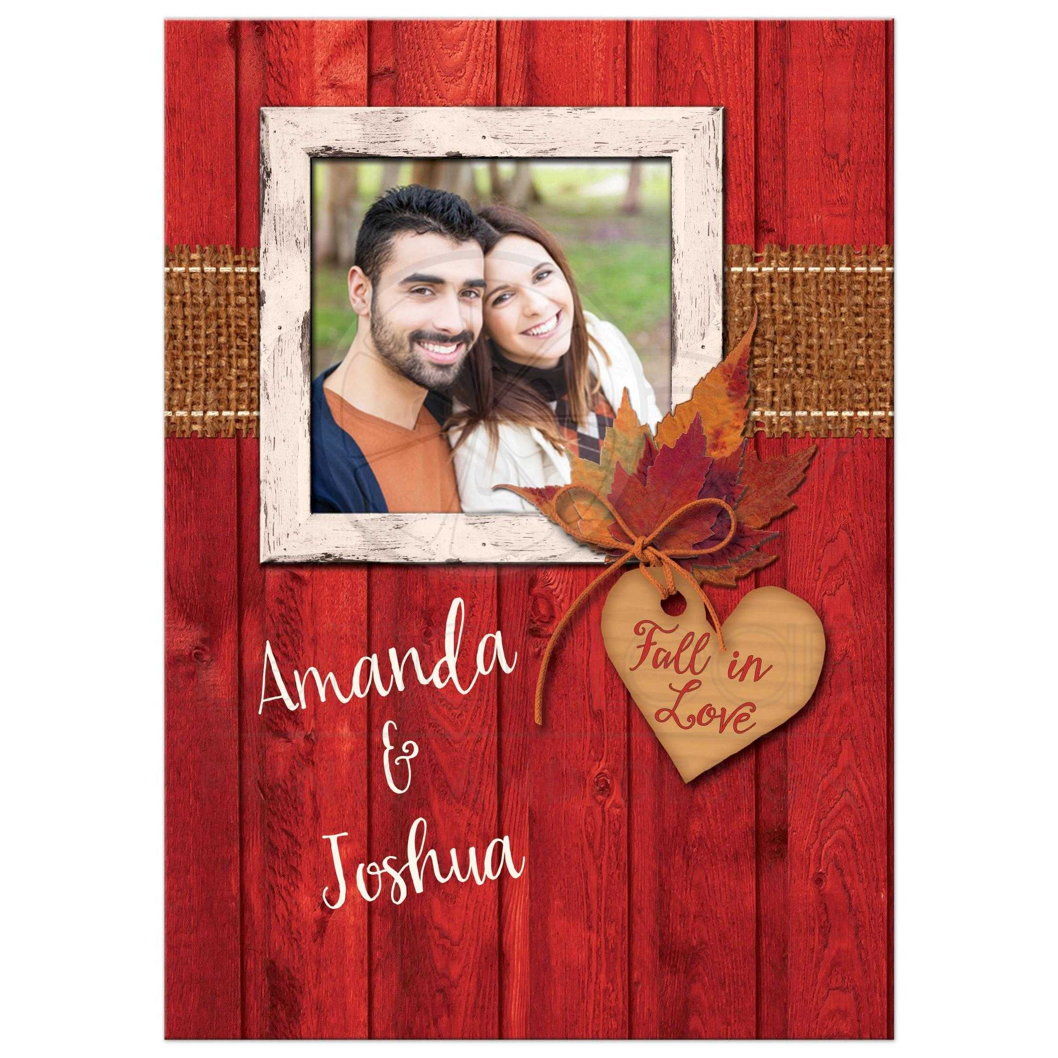Rustic Photo Template Wedding Invitation | Autumn Leaves, Faux ...
